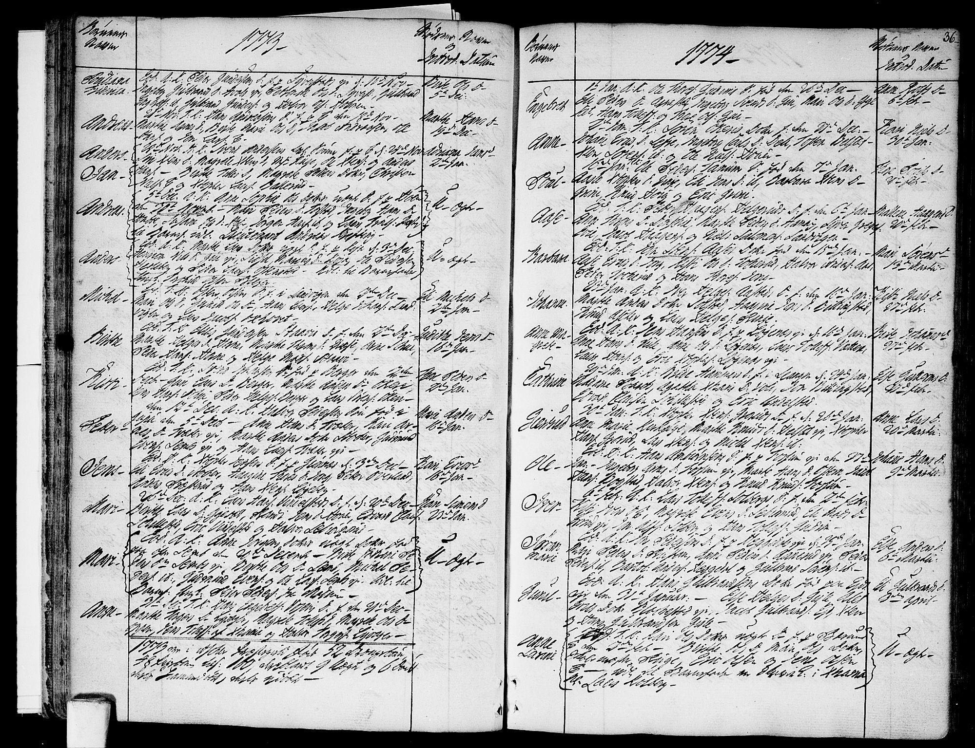 SAO, Asker prestekontor Kirkebøker, F/Fa/L0003: Ministerialbok nr. I 3, 1767-1807, s. 36