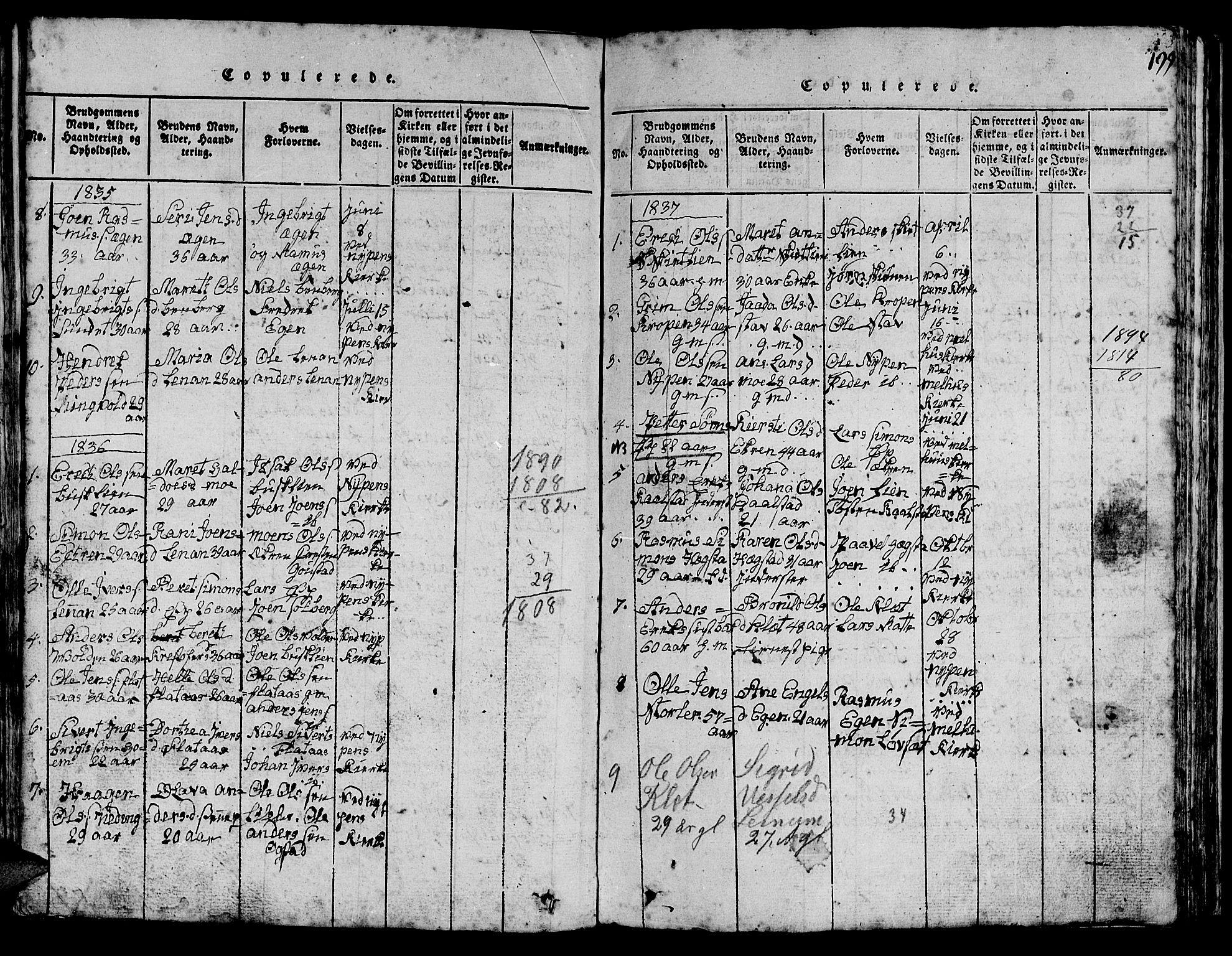 SAT, Ministerialprotokoller, klokkerbøker og fødselsregistre - Sør-Trøndelag, 613/L0393: Klokkerbok nr. 613C01, 1816-1886, s. 199