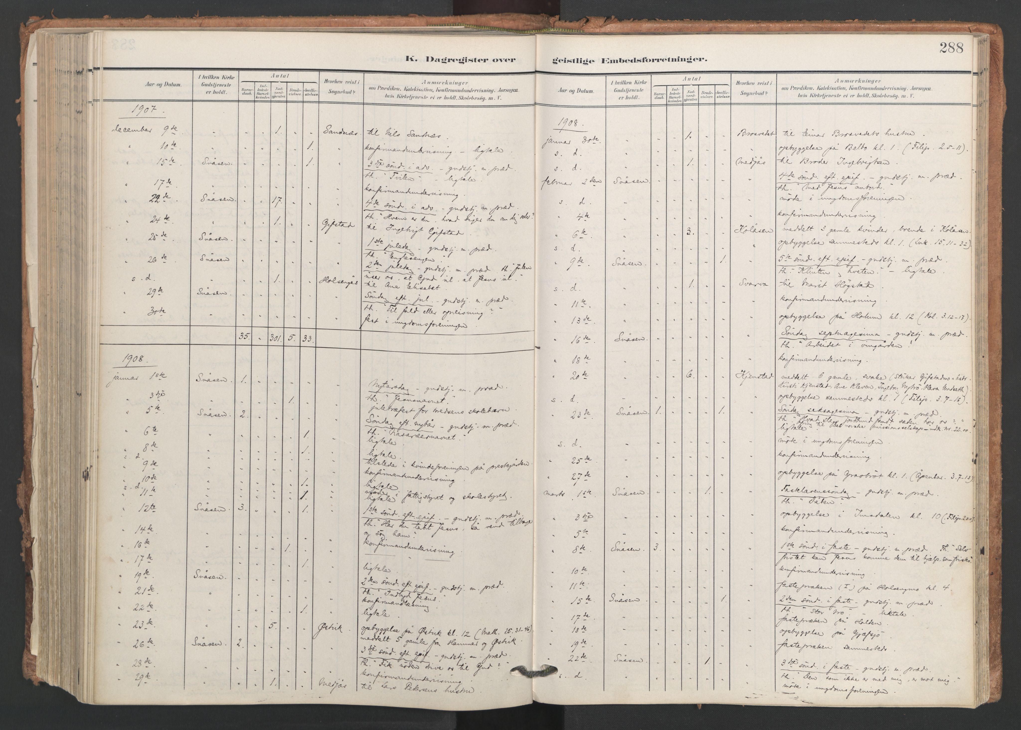 SAT, Ministerialprotokoller, klokkerbøker og fødselsregistre - Nord-Trøndelag, 749/L0477: Ministerialbok nr. 749A11, 1902-1927, s. 288