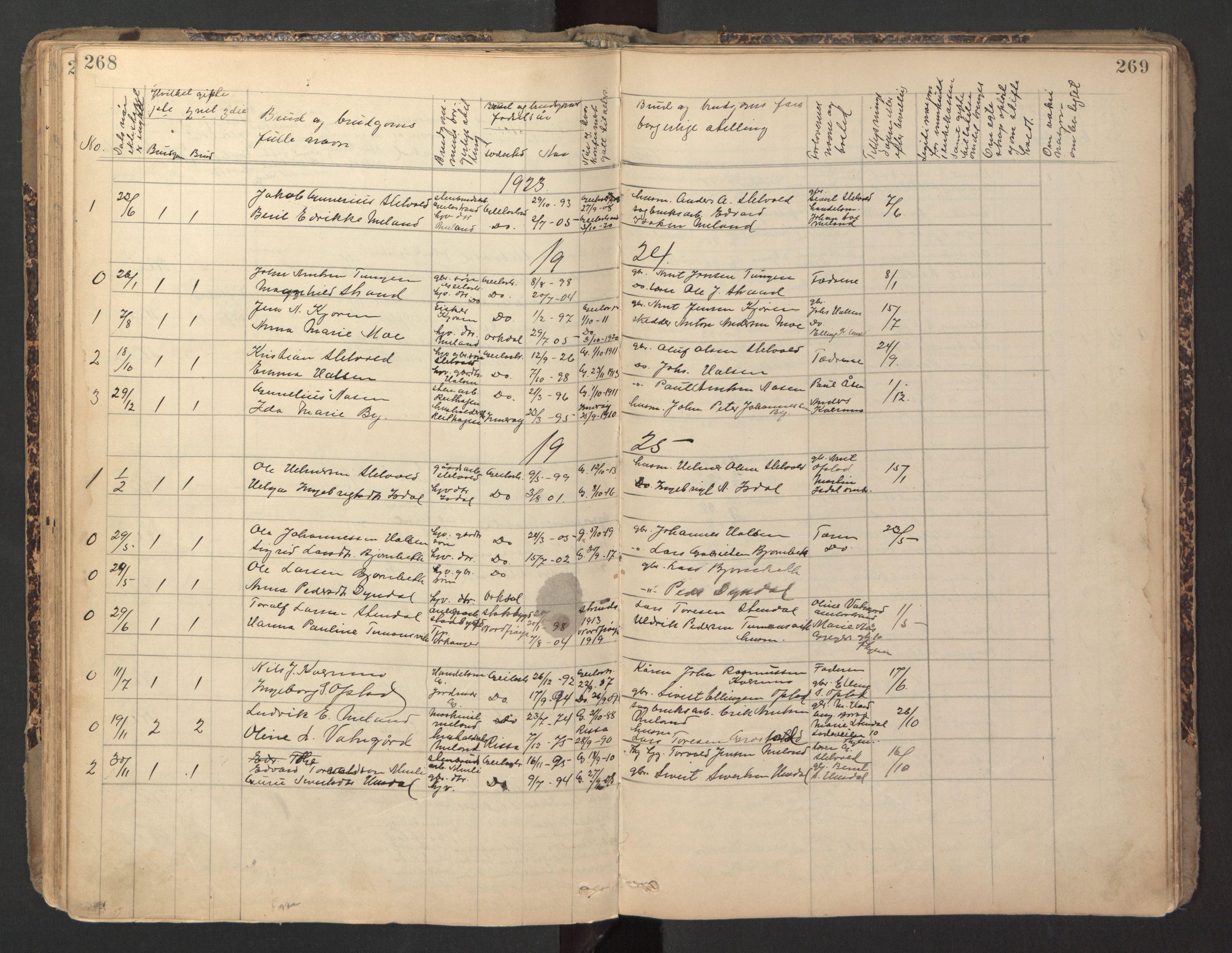 SAT, Ministerialprotokoller, klokkerbøker og fødselsregistre - Sør-Trøndelag, 670/L0837: Klokkerbok nr. 670C01, 1905-1946, s. 268-269