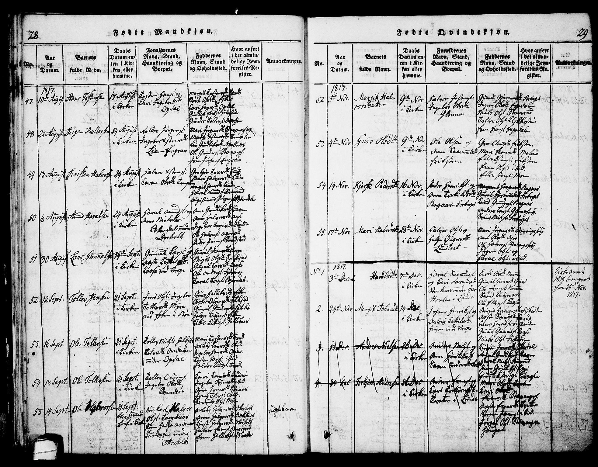 SAKO, Bø kirkebøker, G/Ga/L0001: Klokkerbok nr. 1, 1815-1831, s. 28-29