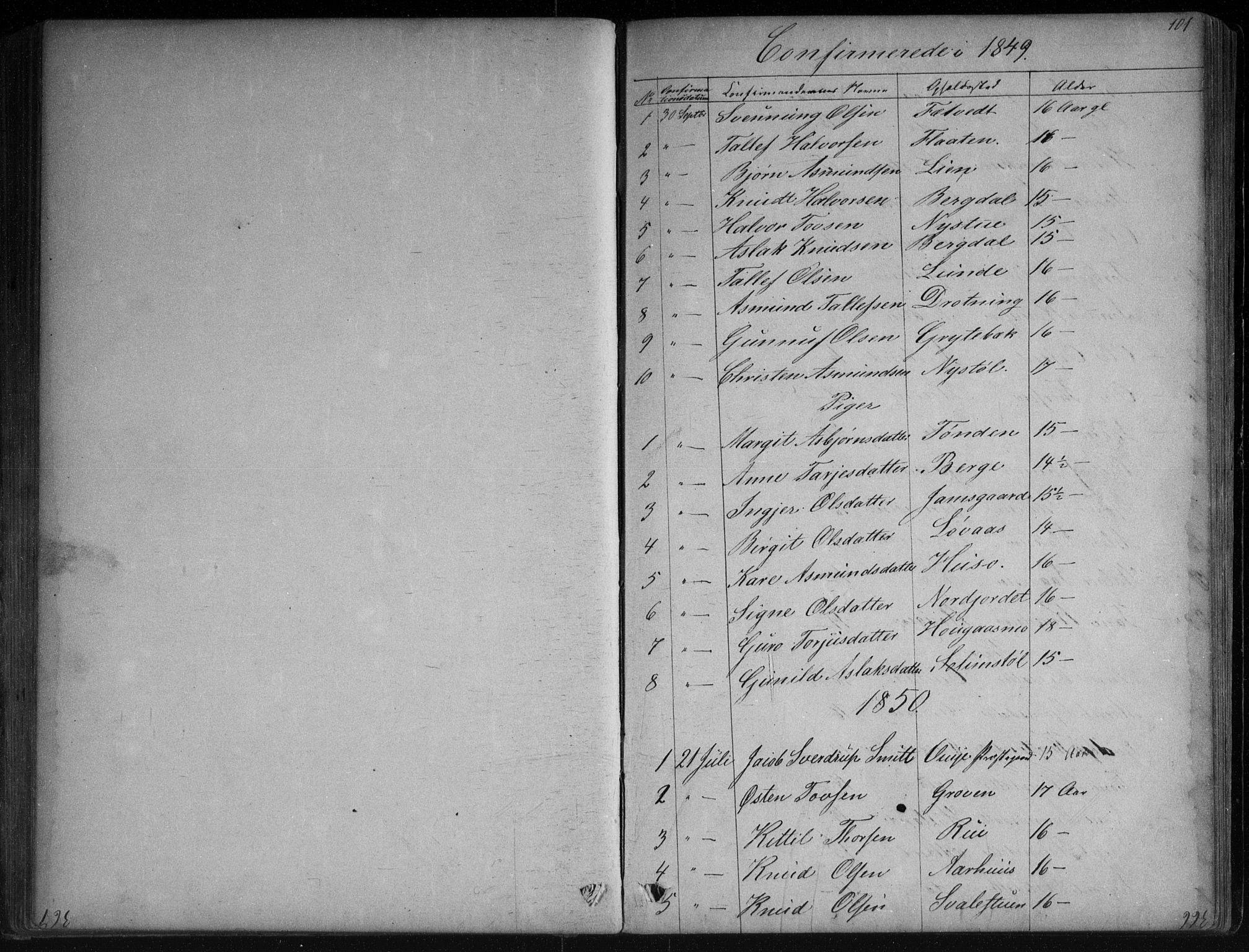SAKO, Vinje kirkebøker, G/Ga/L0002: Klokkerbok nr. I 2, 1849-1893, s. 101