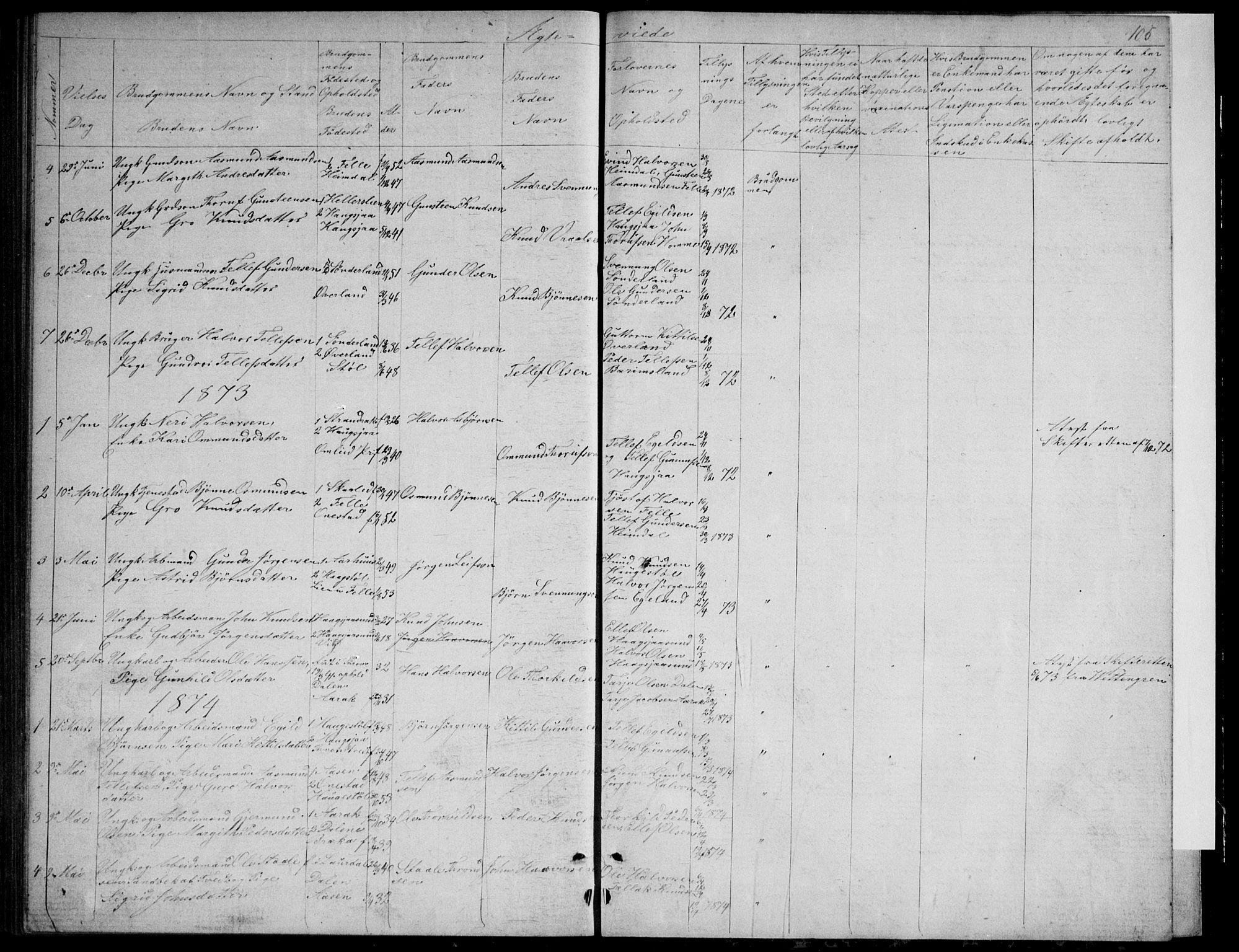 SAKO, Nissedal kirkebøker, G/Gb/L0002: Klokkerbok nr. II 2, 1863-1892, s. 105