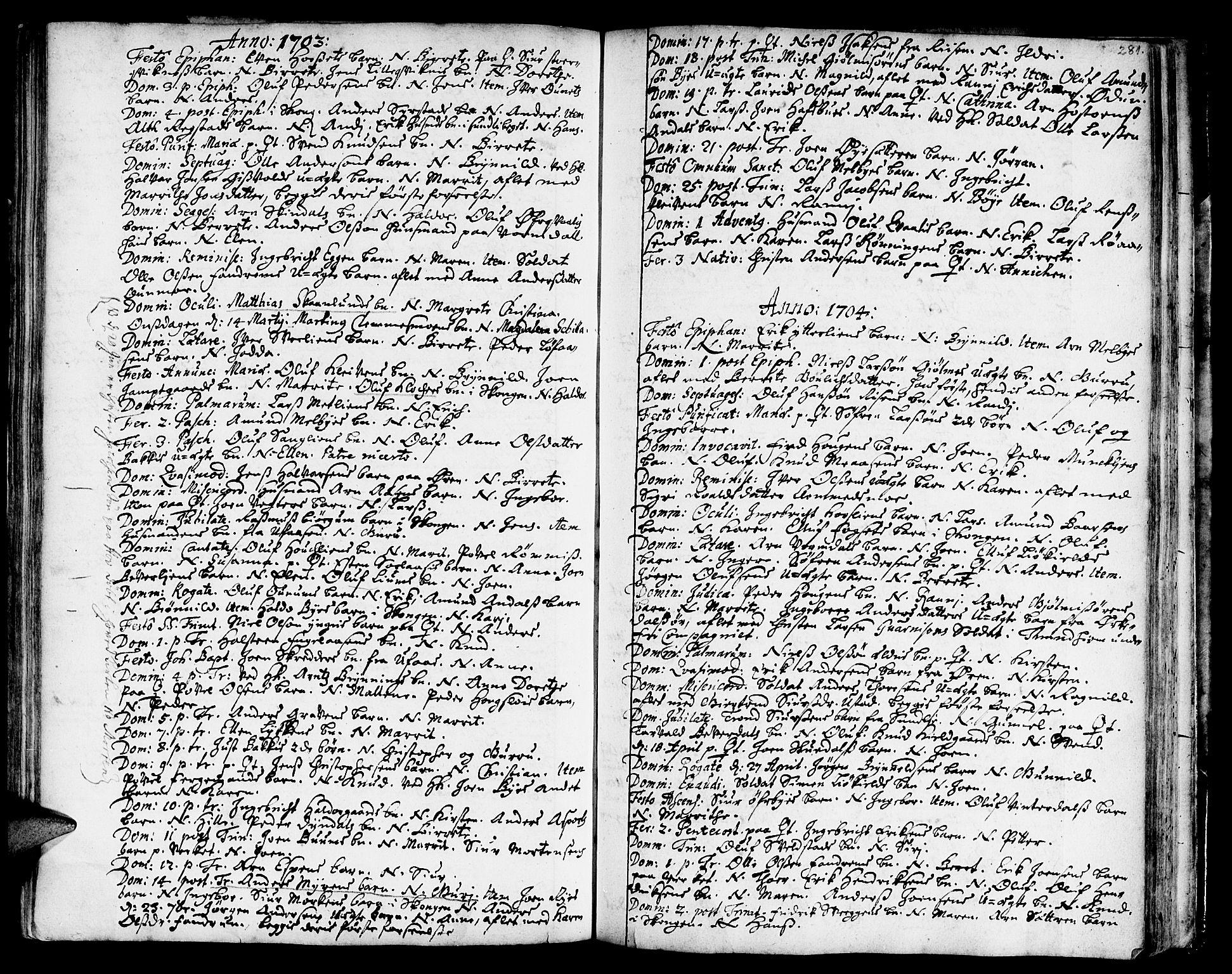 SAT, Ministerialprotokoller, klokkerbøker og fødselsregistre - Sør-Trøndelag, 668/L0801: Ministerialbok nr. 668A01, 1695-1716, s. 280-281