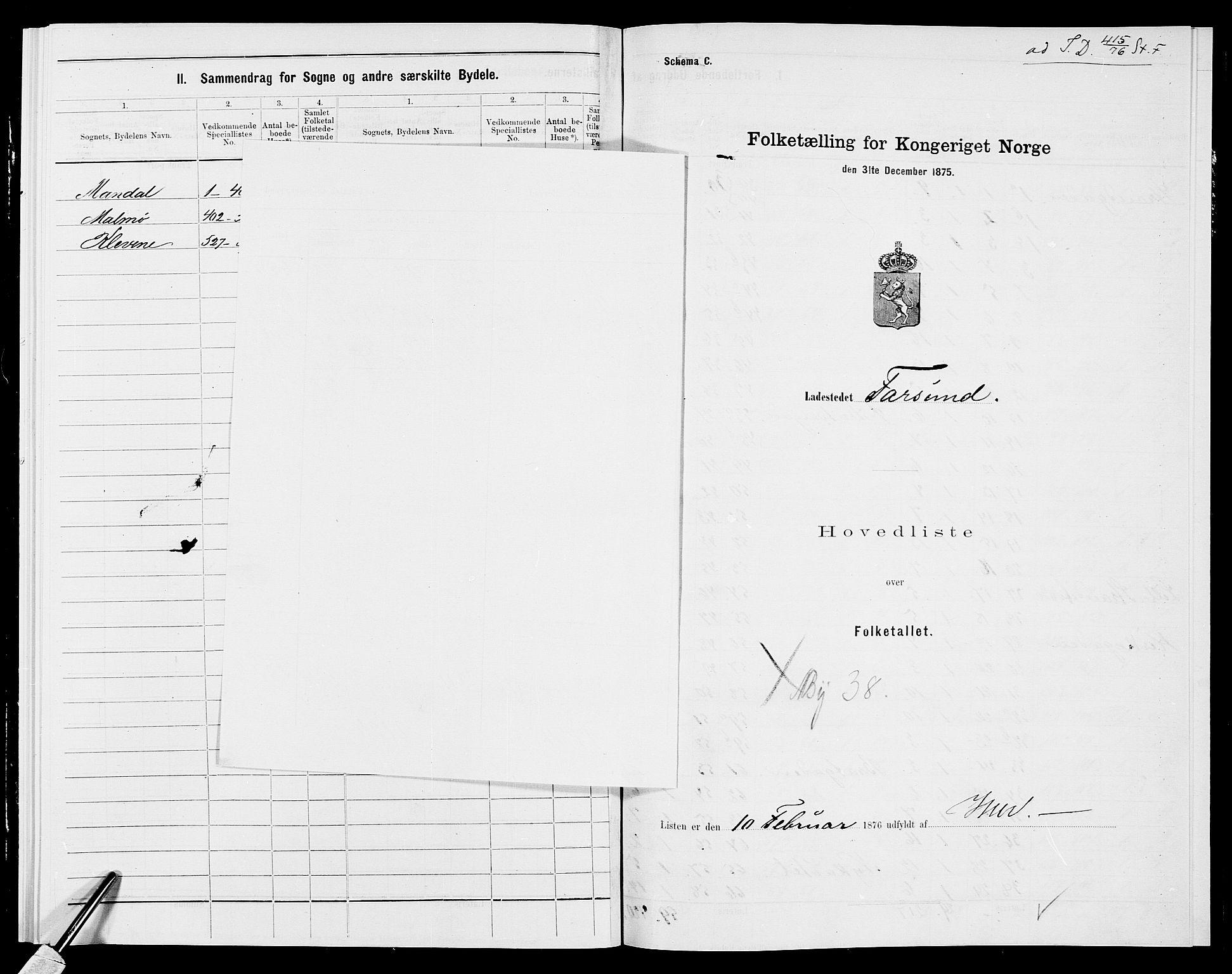 SAK, Folketelling 1875 for 1003B Vanse prestegjeld, Farsund ladested, 1875, s. 1