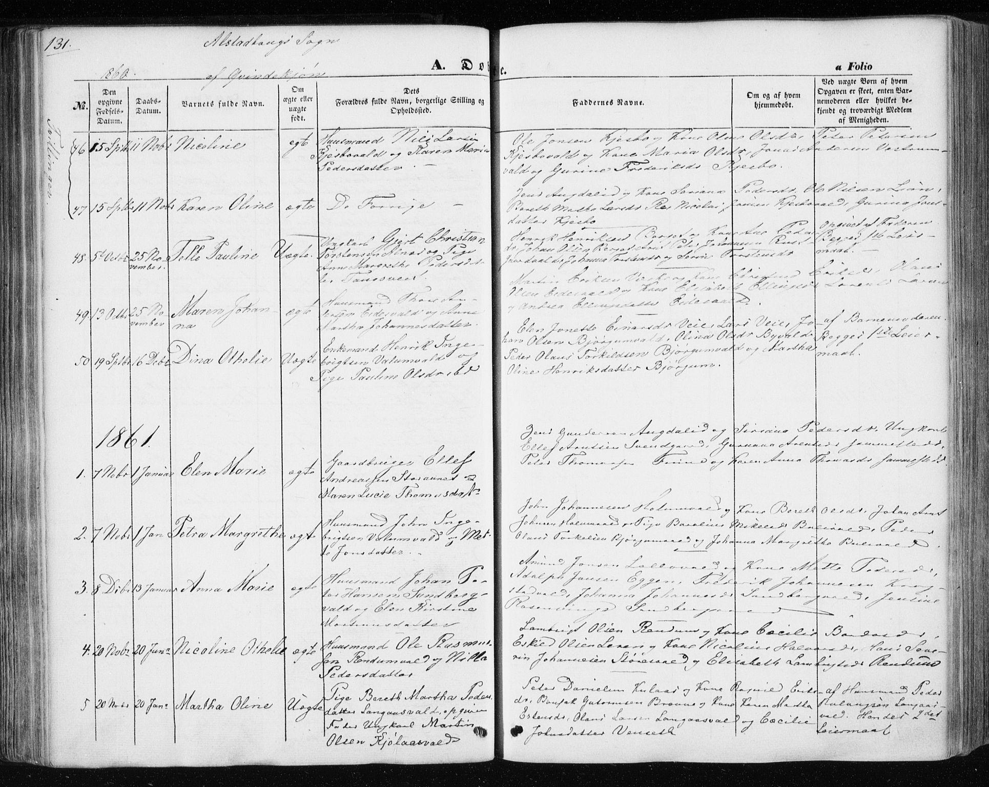 SAT, Ministerialprotokoller, klokkerbøker og fødselsregistre - Nord-Trøndelag, 717/L0154: Ministerialbok nr. 717A07 /1, 1850-1862, s. 131