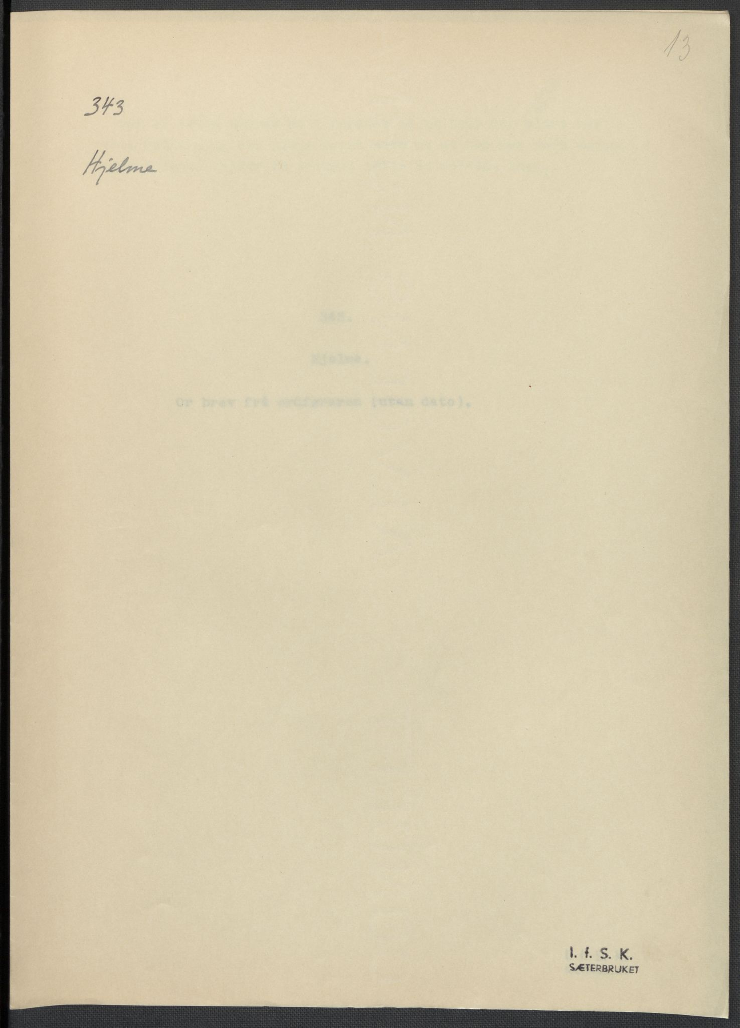 RA, Instituttet for sammenlignende kulturforskning, F/Fc/L0010: Eske B10:, 1932-1935, s. 13