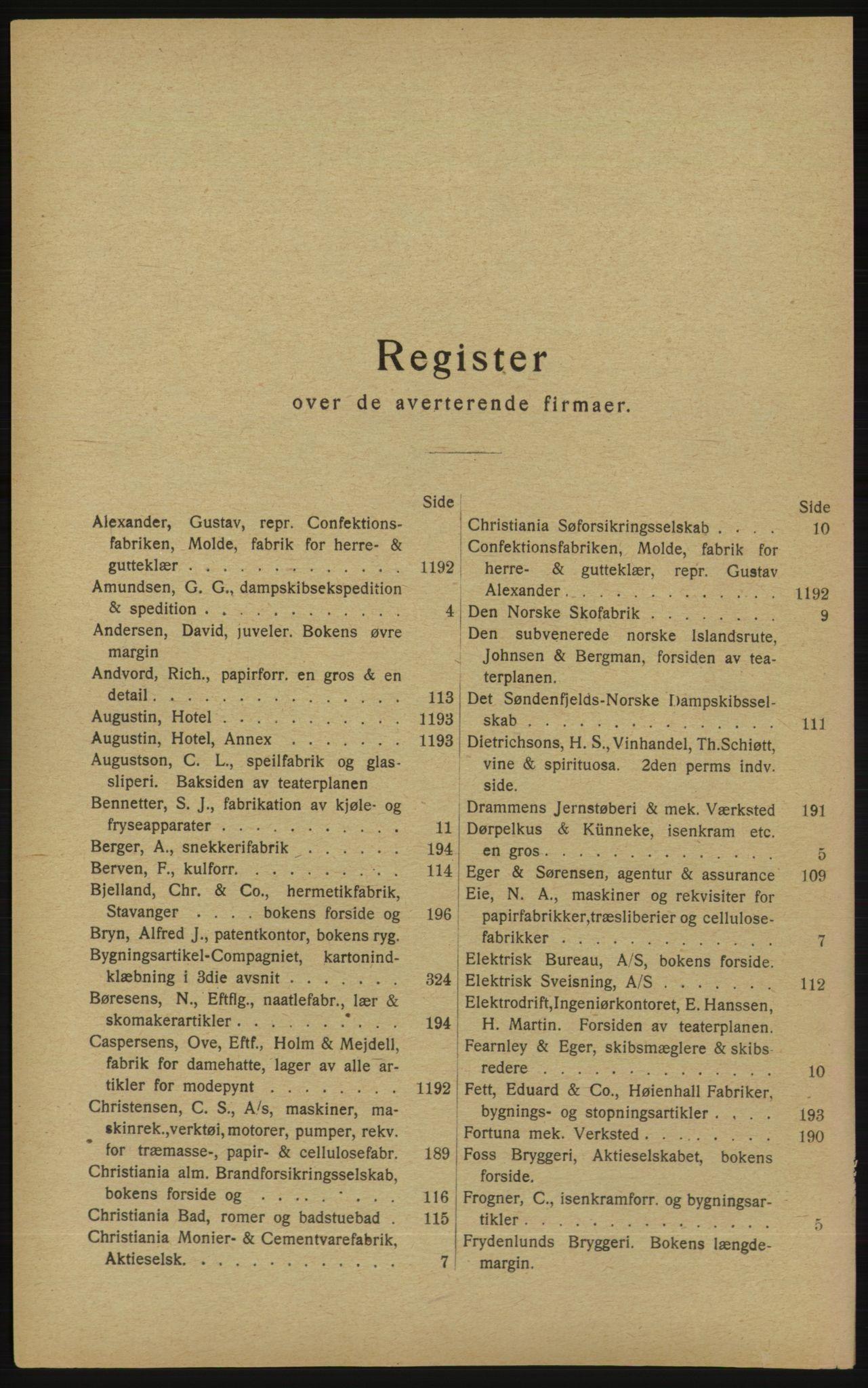 RA, Kristiania adressebok (publikasjon)*, 1913, s. upaginert