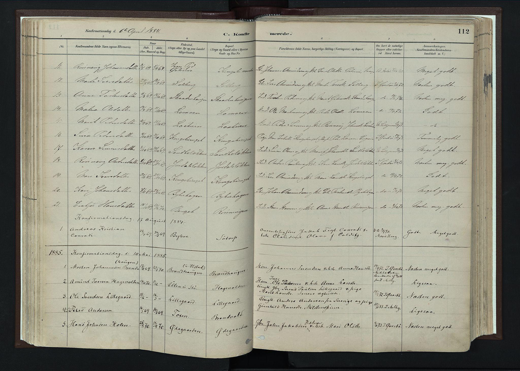 SAH, Nord-Fron prestekontor, Ministerialbok nr. 4, 1884-1914, s. 112