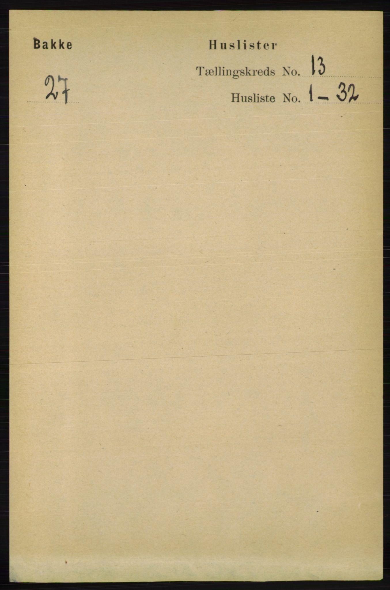 RA, Folketelling 1891 for 1045 Bakke herred, 1891, s. 2668