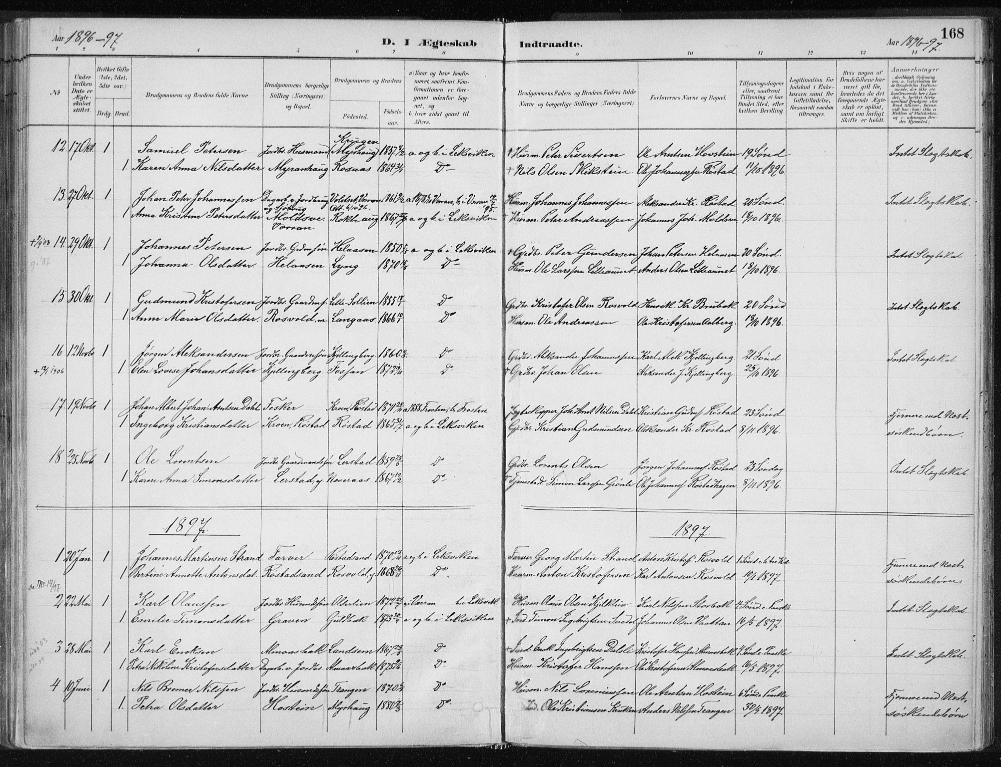 SAT, Ministerialprotokoller, klokkerbøker og fødselsregistre - Nord-Trøndelag, 701/L0010: Ministerialbok nr. 701A10, 1883-1899, s. 168