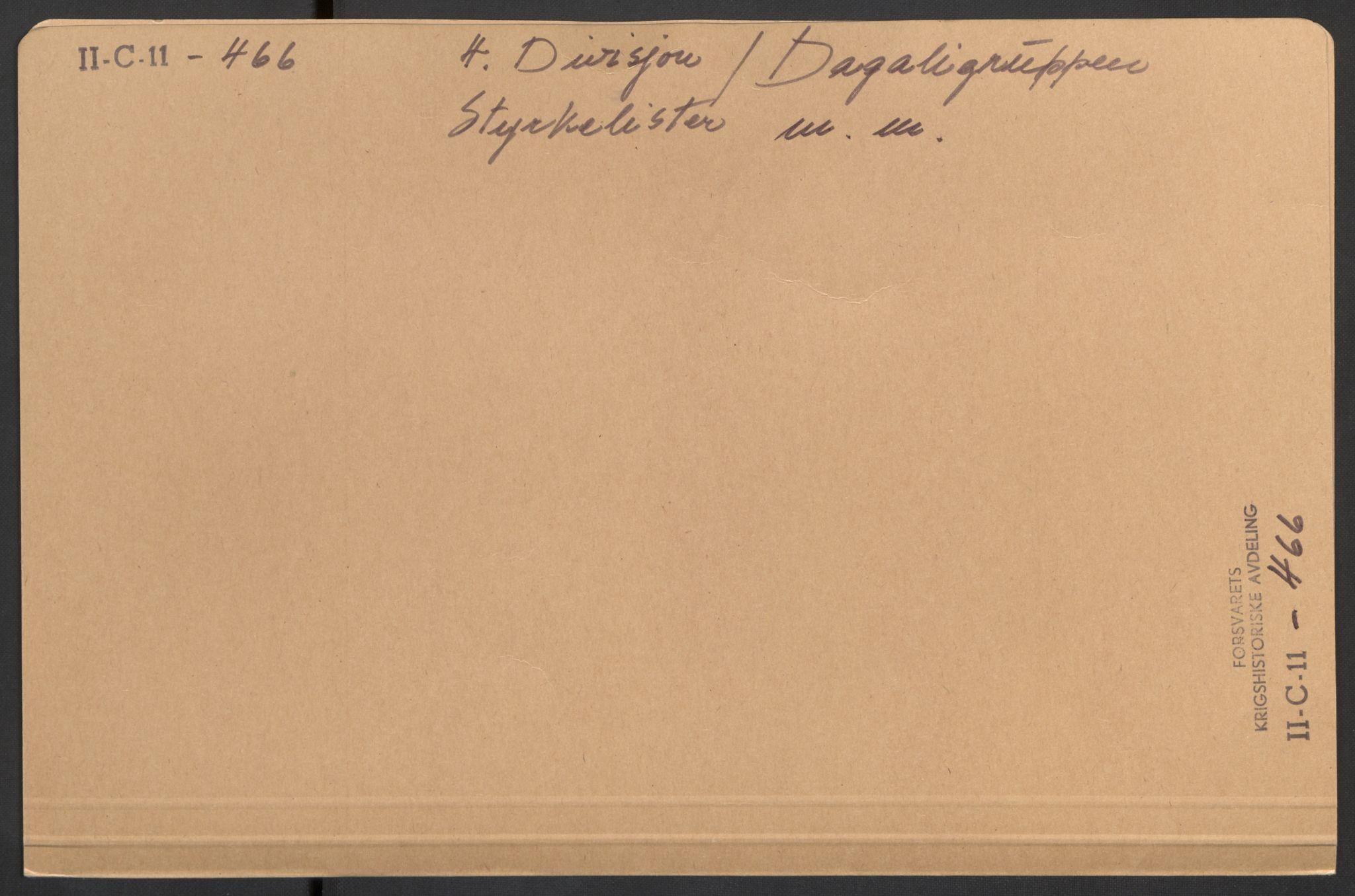 RA, Forsvaret, Forsvarets krigshistoriske avdeling, Y/Yb/L0108: II-C-11-466-499  -  4. Divisjon., 1940, s. 1