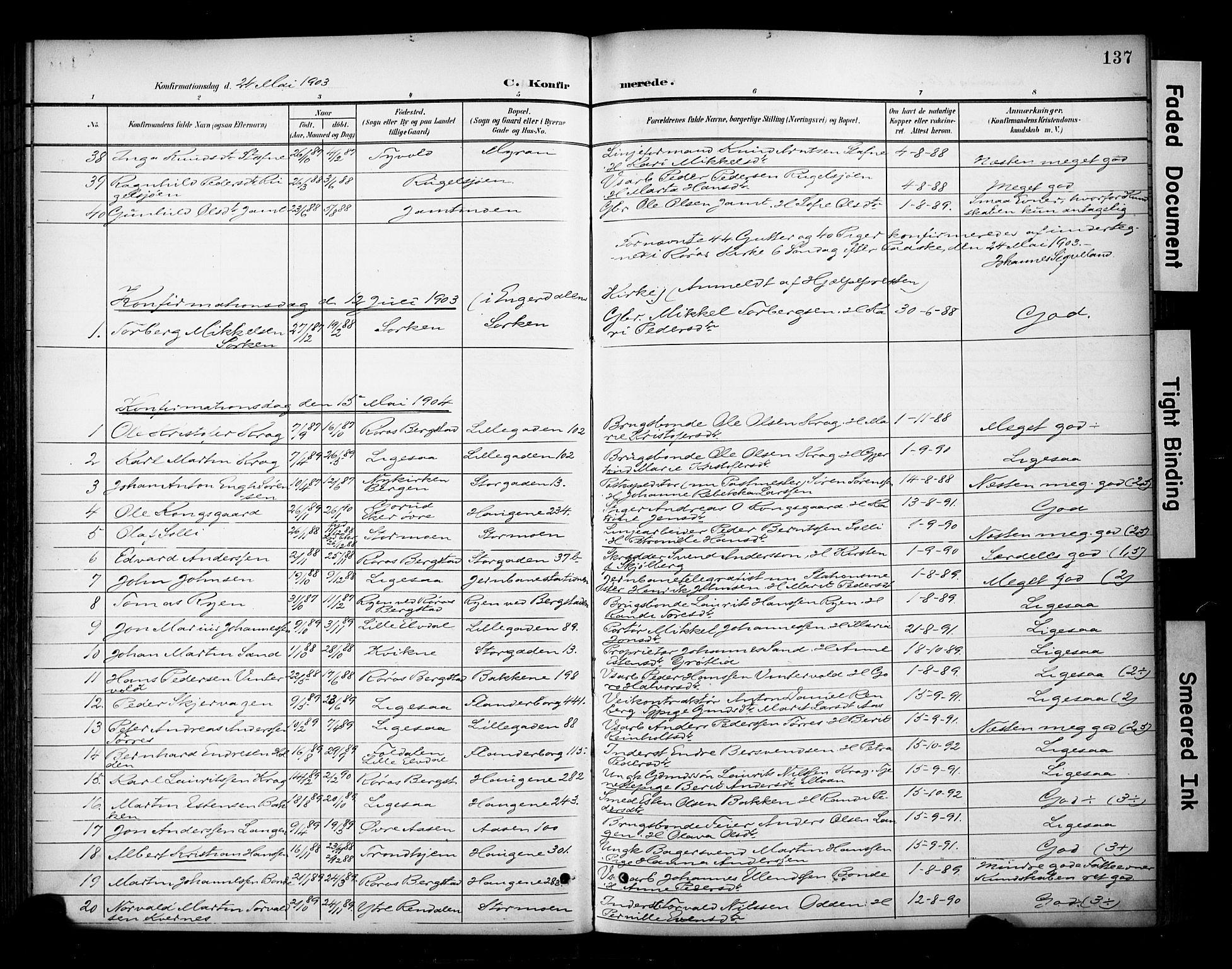 SAT, Ministerialprotokoller, klokkerbøker og fødselsregistre - Sør-Trøndelag, 681/L0936: Ministerialbok nr. 681A14, 1899-1908, s. 137