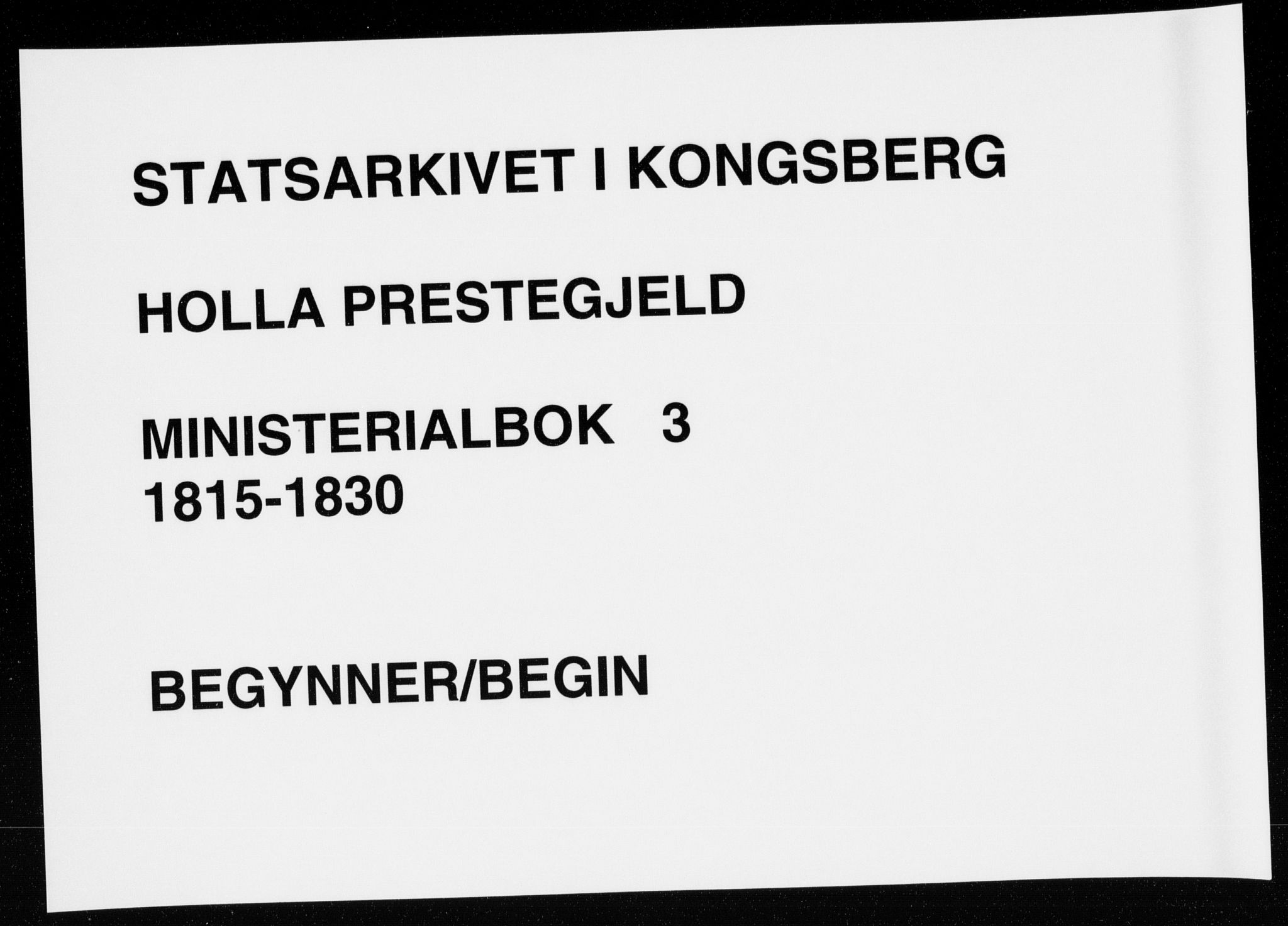 SAKO, Holla kirkebøker, F/Fa/L0003: Ministerialbok nr. 3, 1815-1830