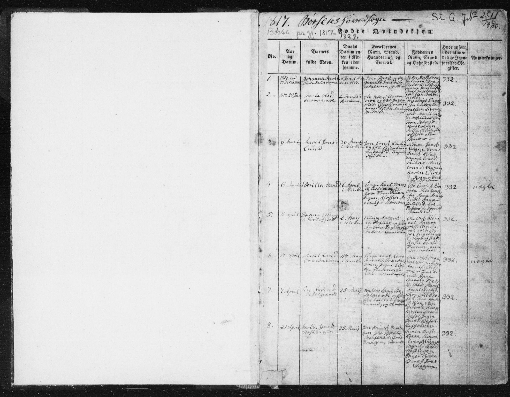 SAT, Ministerialprotokoller, klokkerbøker og fødselsregistre - Sør-Trøndelag, 665/L0770: Ministerialbok nr. 665A05, 1817-1829, s. 1