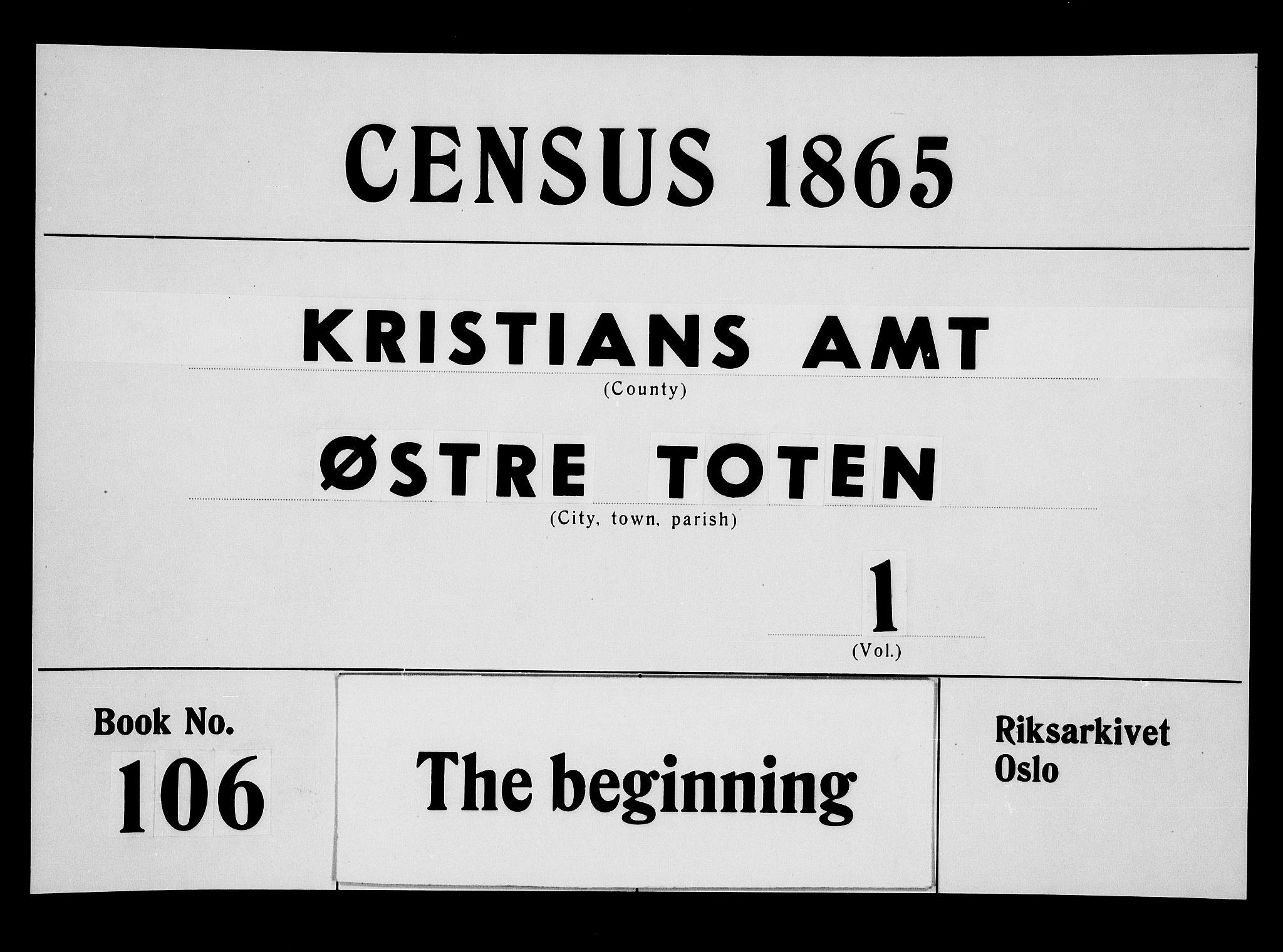 RA, Folketelling 1865 for 0528P Østre Toten prestegjeld, 1865, s. 1