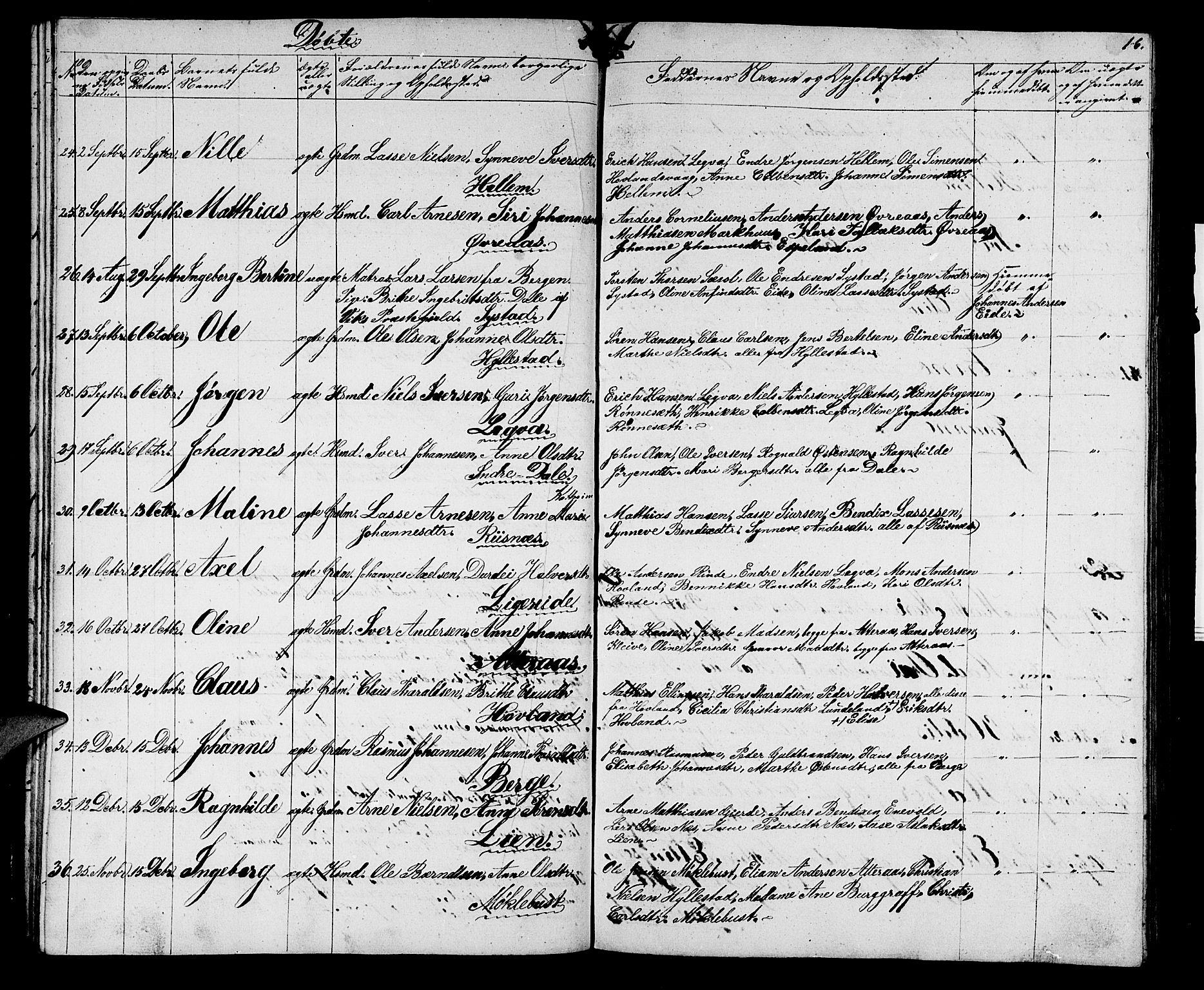 SAB, Hyllestad Sokneprestembete, Klokkerbok nr. A 1, 1853-1875, s. 16