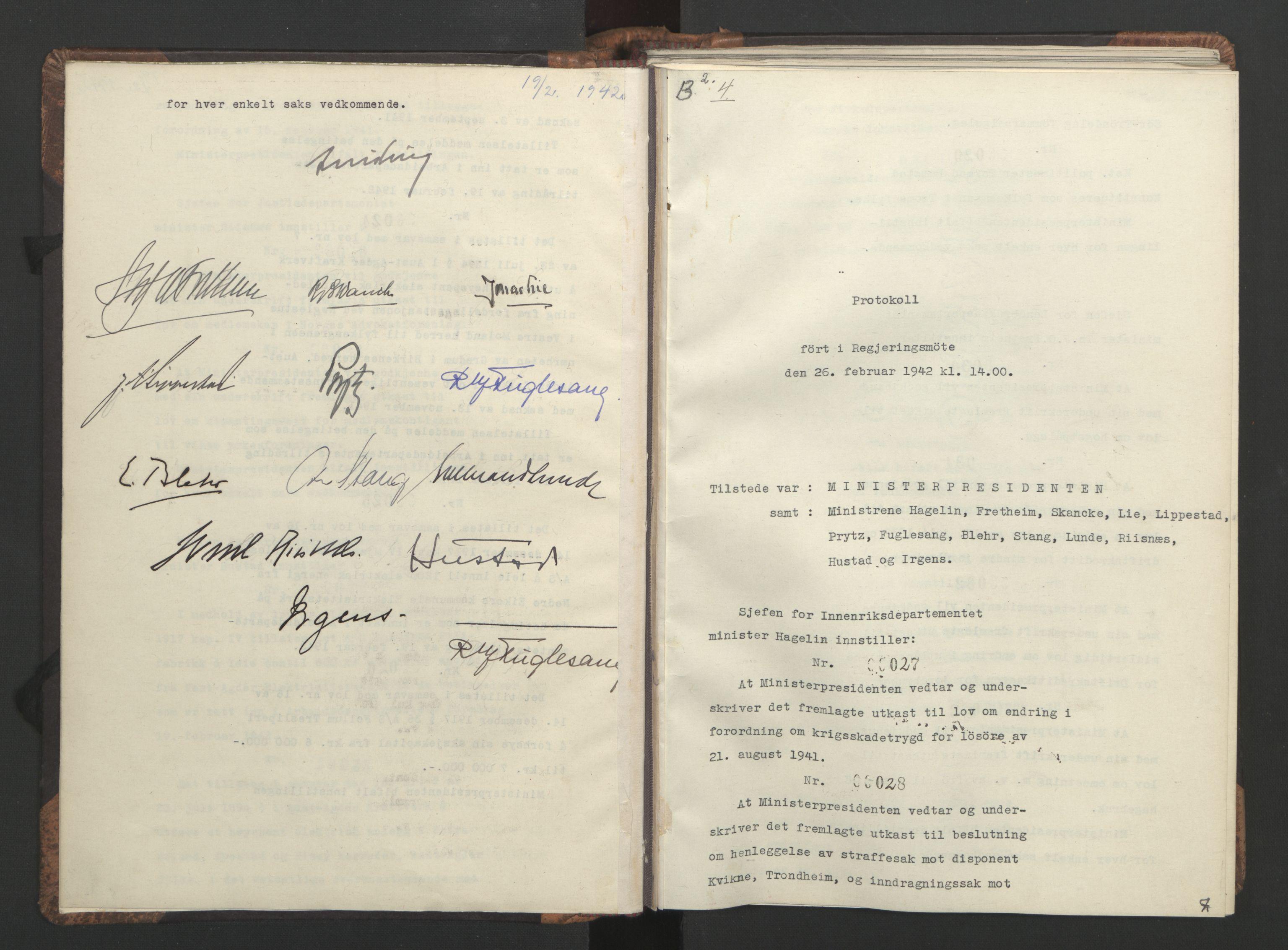 RA, NS-administrasjonen 1940-1945 (Statsrådsekretariatet, de kommisariske statsråder mm), D/Da/L0001: Beslutninger og tillegg (1-952 og 1-32), 1942, s. 6b-7a