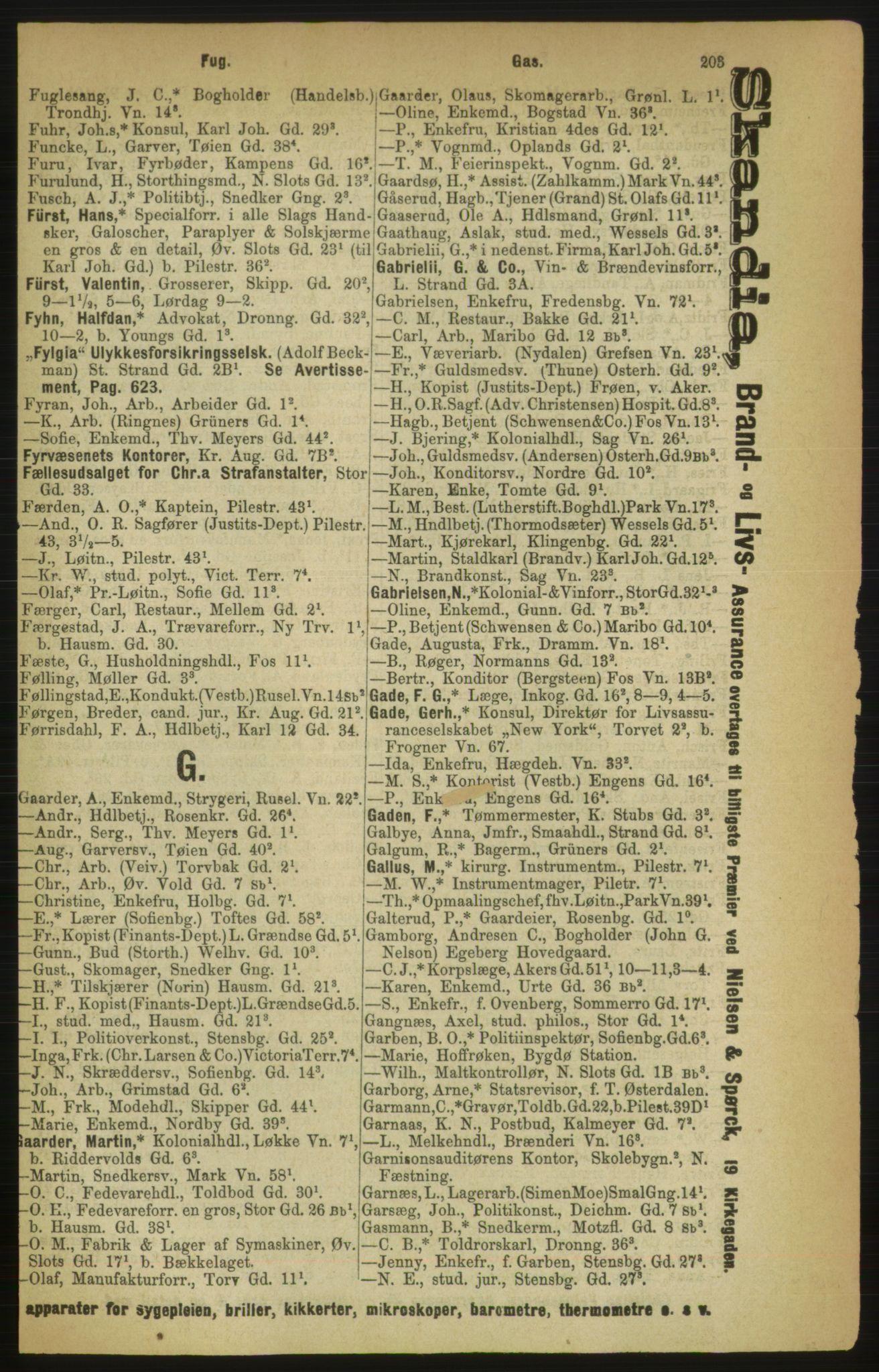 PUBL, Kristiania/Oslo adressebok, 1888, s. 203