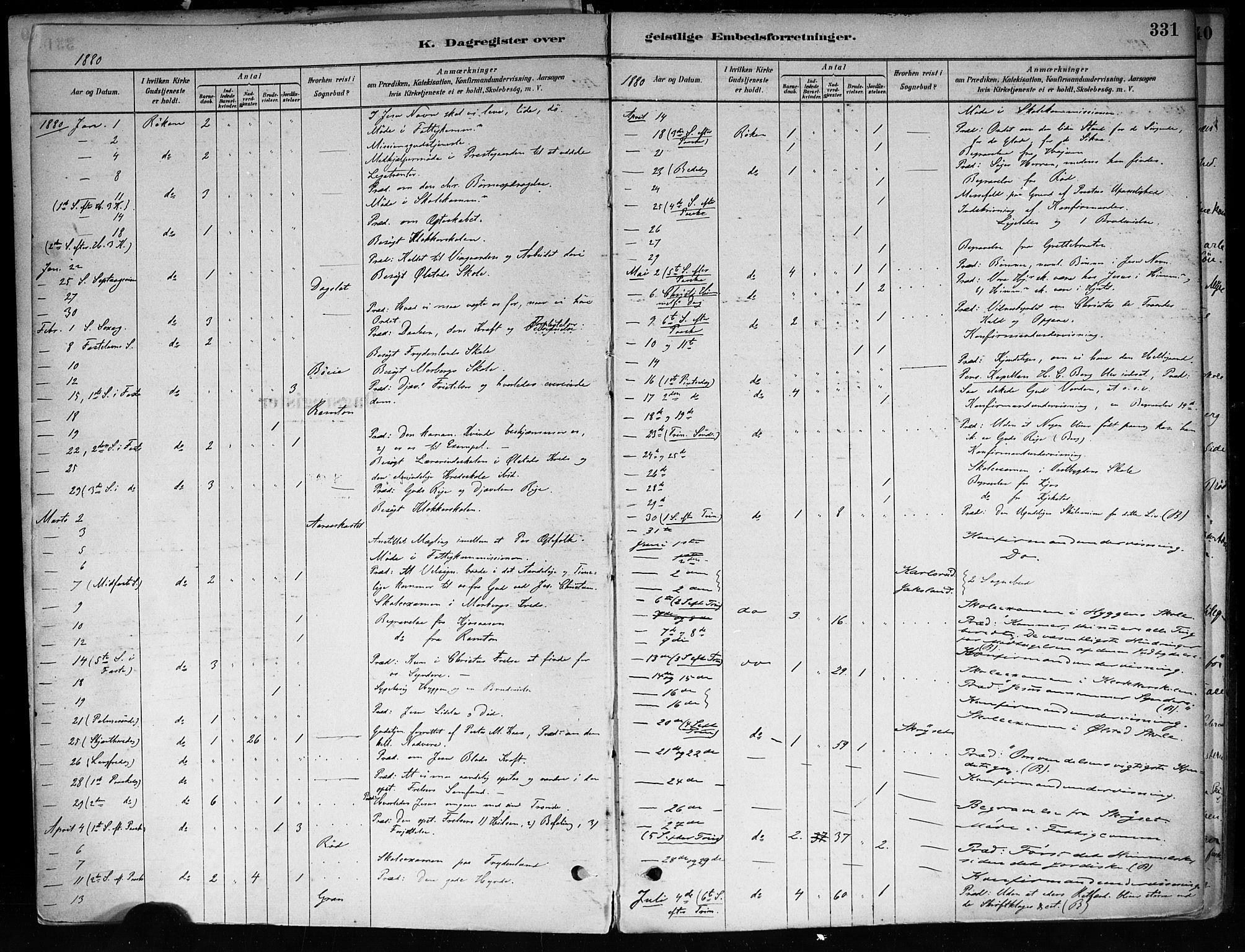 SAKO, Røyken kirkebøker, F/Fa/L0008: Ministerialbok nr. 8, 1880-1897, s. 331