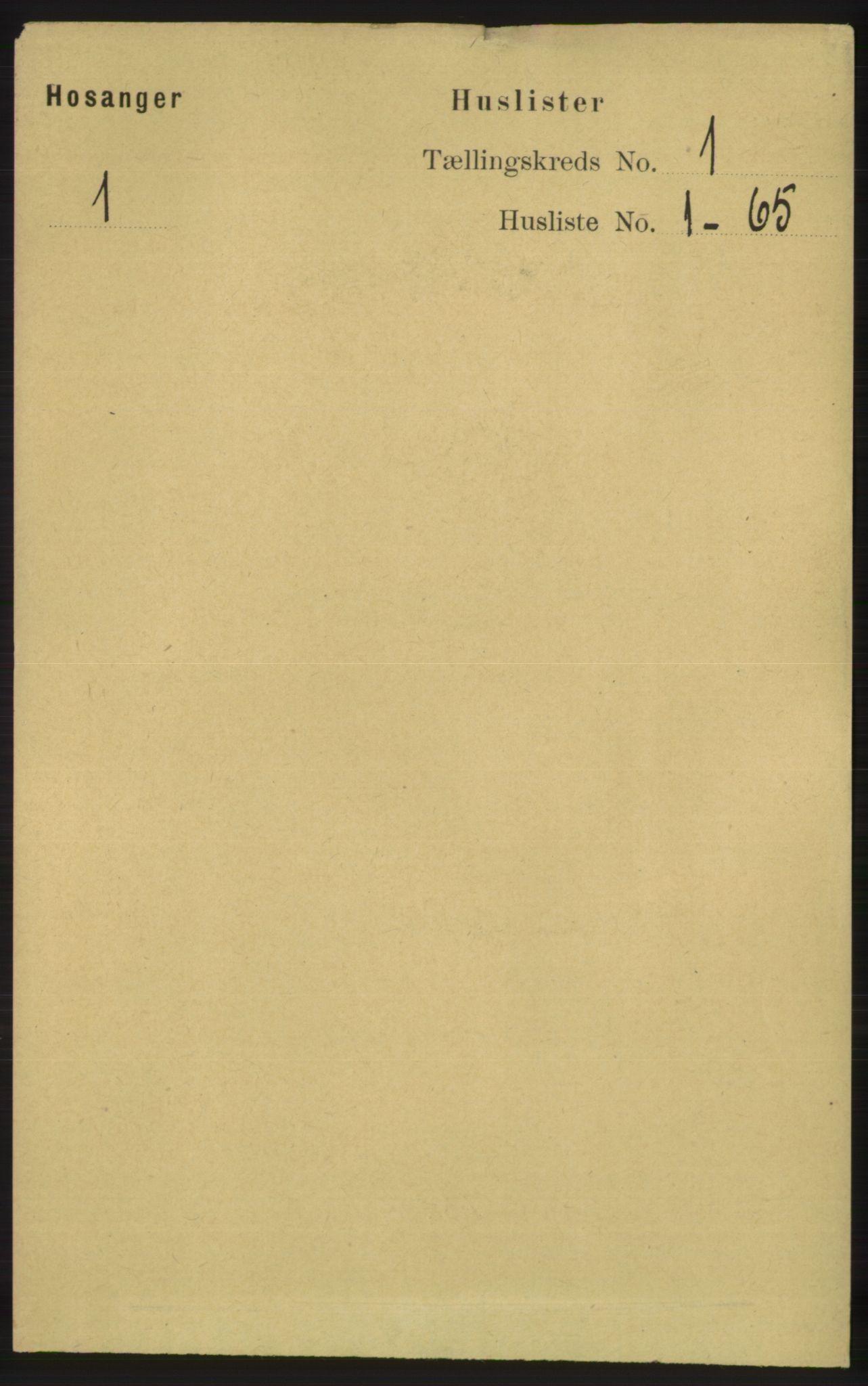 RA, Folketelling 1891 for 1253 Hosanger herred, 1891, s. 29
