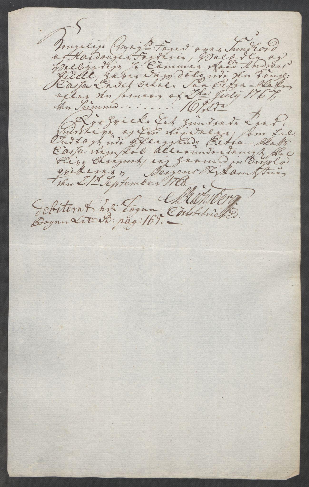 RA, Rentekammeret inntil 1814, Reviderte regnskaper, Fogderegnskap, R48/L3136: Ekstraskatten Sunnhordland og Hardanger, 1762-1772, s. 168