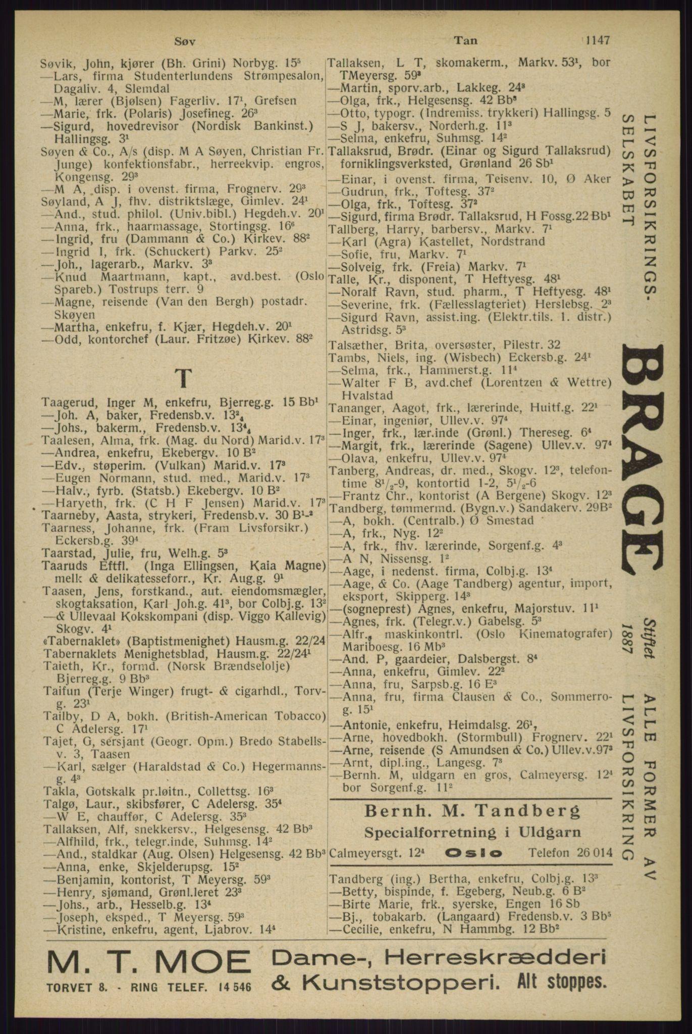 RA, Oslo adressebok (publikasjon)*, 1929, s. 1147