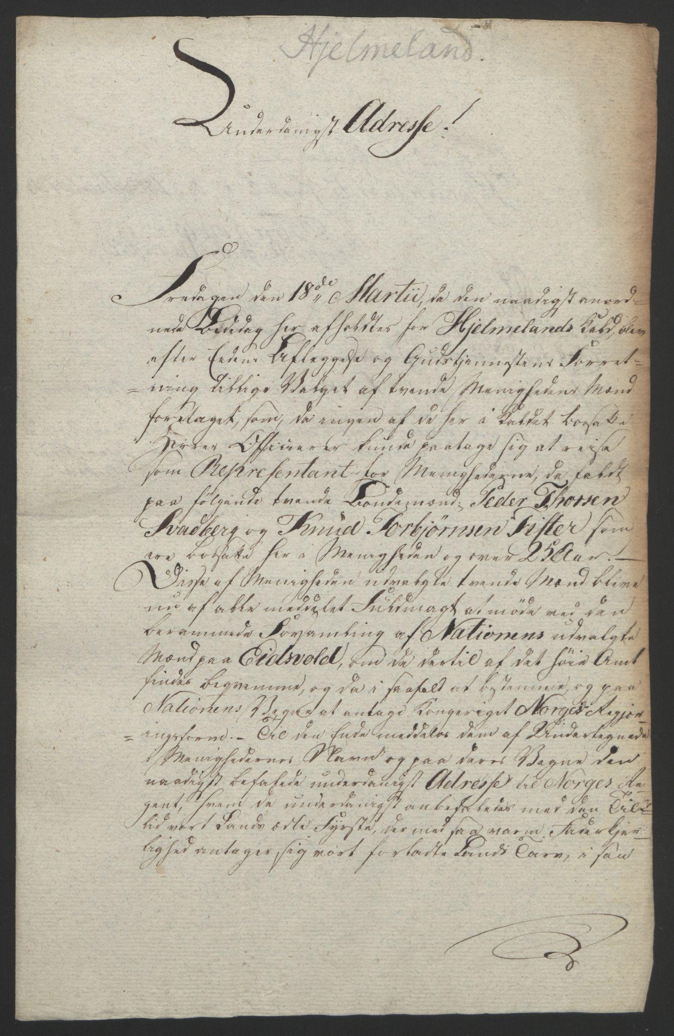 RA, Statsrådssekretariatet, D/Db/L0008: Fullmakter for Eidsvollsrepresentantene i 1814. , 1814, s. 227