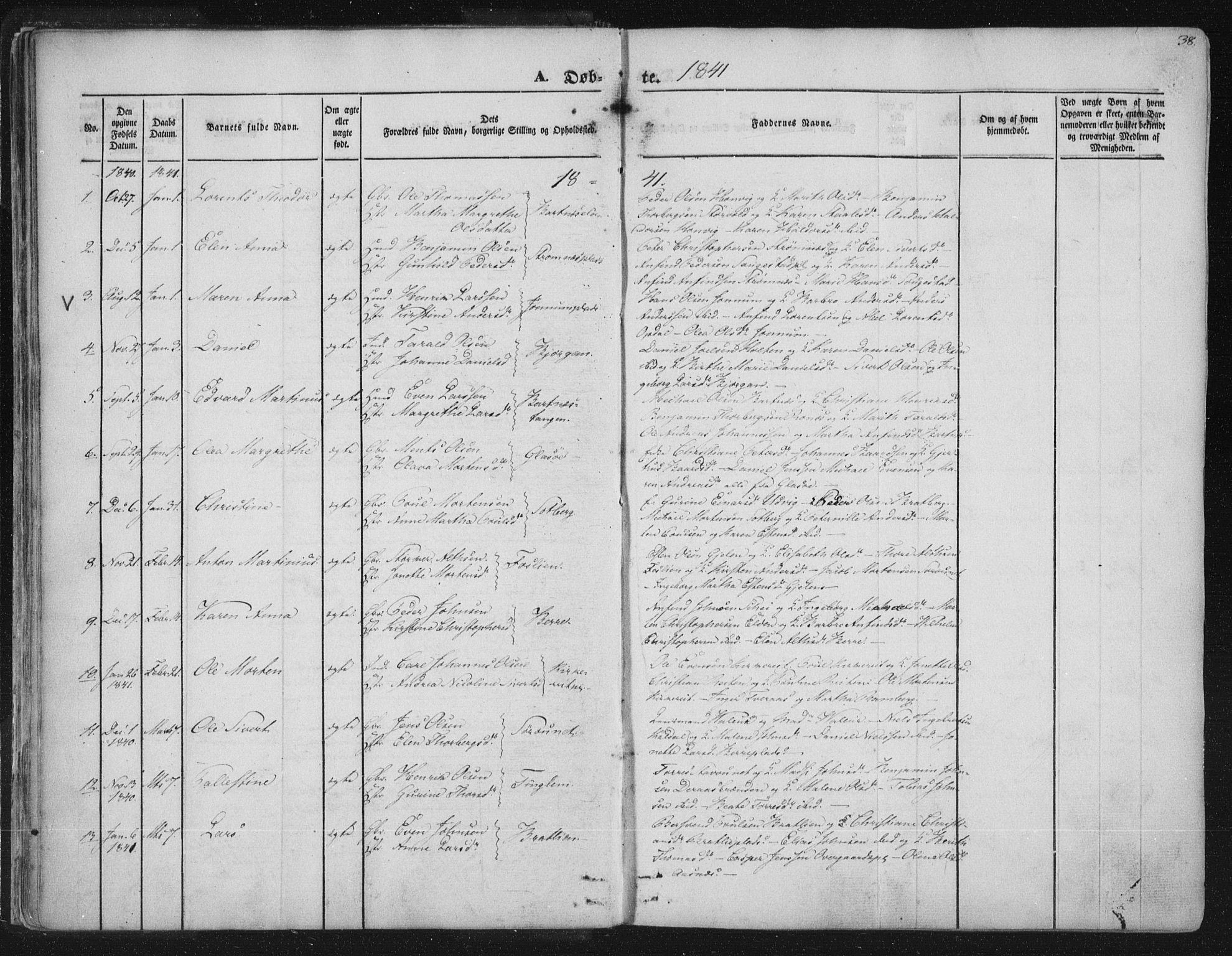 SAT, Ministerialprotokoller, klokkerbøker og fødselsregistre - Nord-Trøndelag, 741/L0392: Ministerialbok nr. 741A06, 1836-1848, s. 38