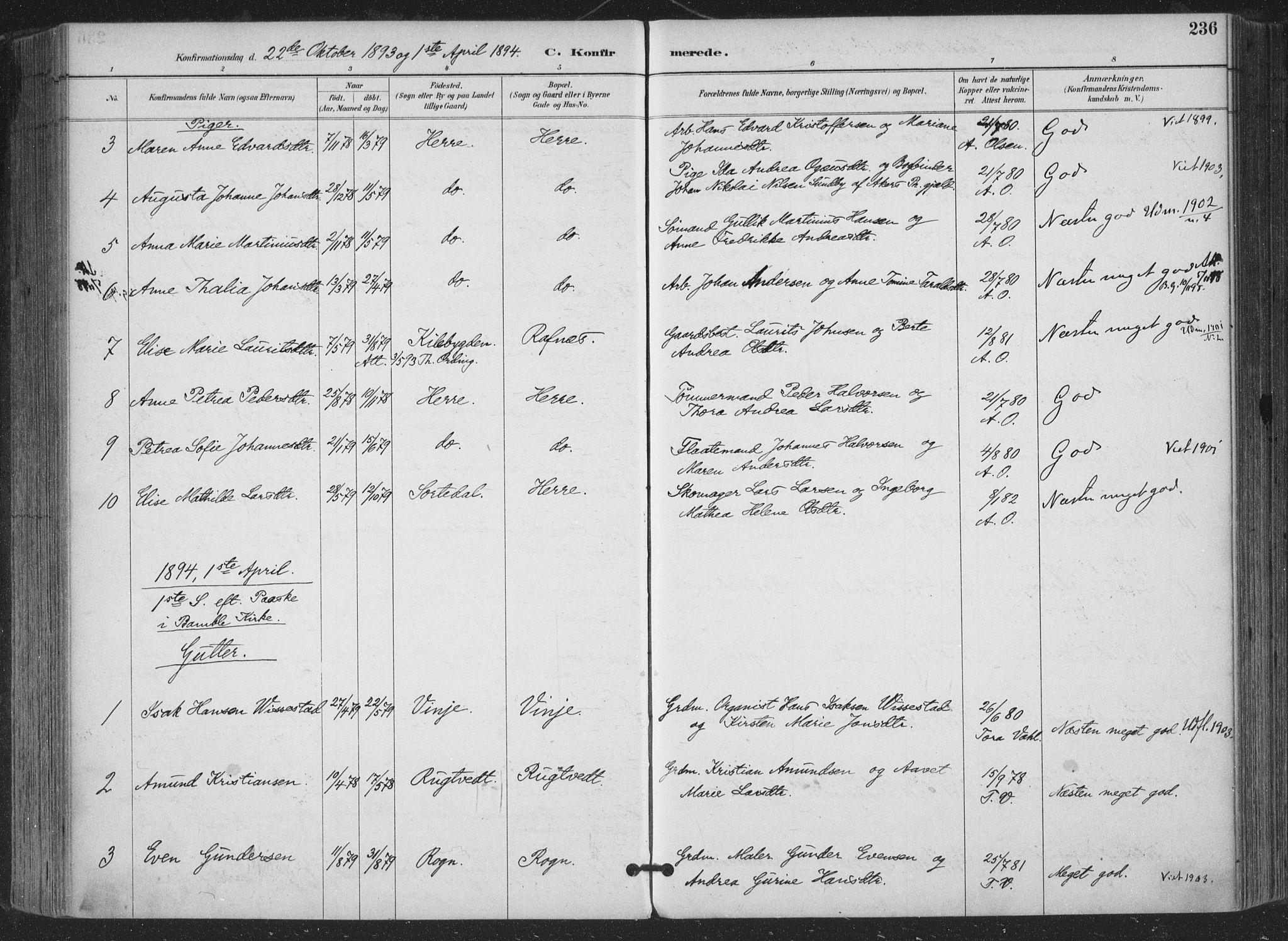 SAKO, Bamble kirkebøker, F/Fa/L0008: Ministerialbok nr. I 8, 1888-1900, s. 236