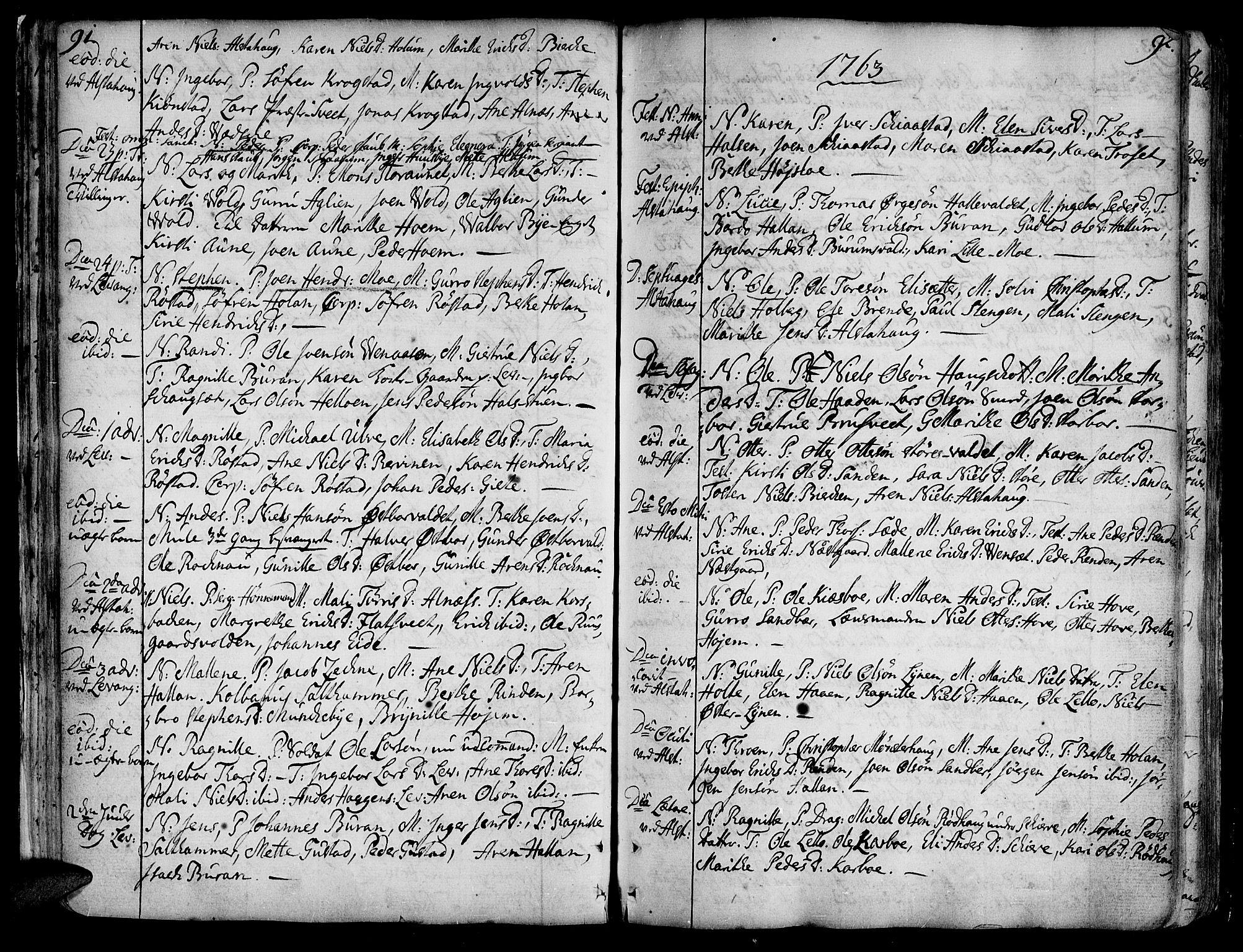 SAT, Ministerialprotokoller, klokkerbøker og fødselsregistre - Nord-Trøndelag, 717/L0141: Ministerialbok nr. 717A01, 1747-1803, s. 91-92