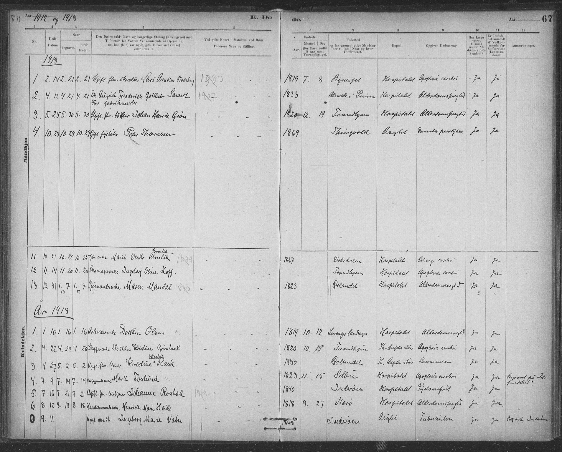 SAT, Ministerialprotokoller, klokkerbøker og fødselsregistre - Sør-Trøndelag, 623/L0470: Ministerialbok nr. 623A04, 1884-1938, s. 67