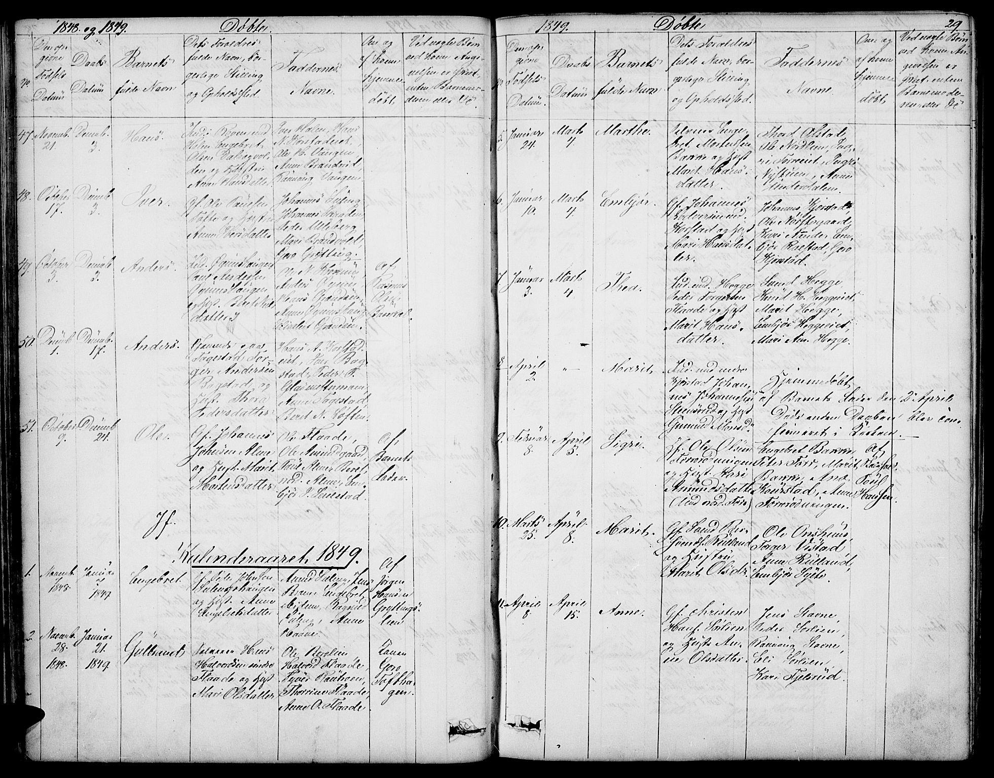 SAH, Sør-Fron prestekontor, H/Ha/Hab/L0001: Klokkerbok nr. 1, 1844-1863, s. 29