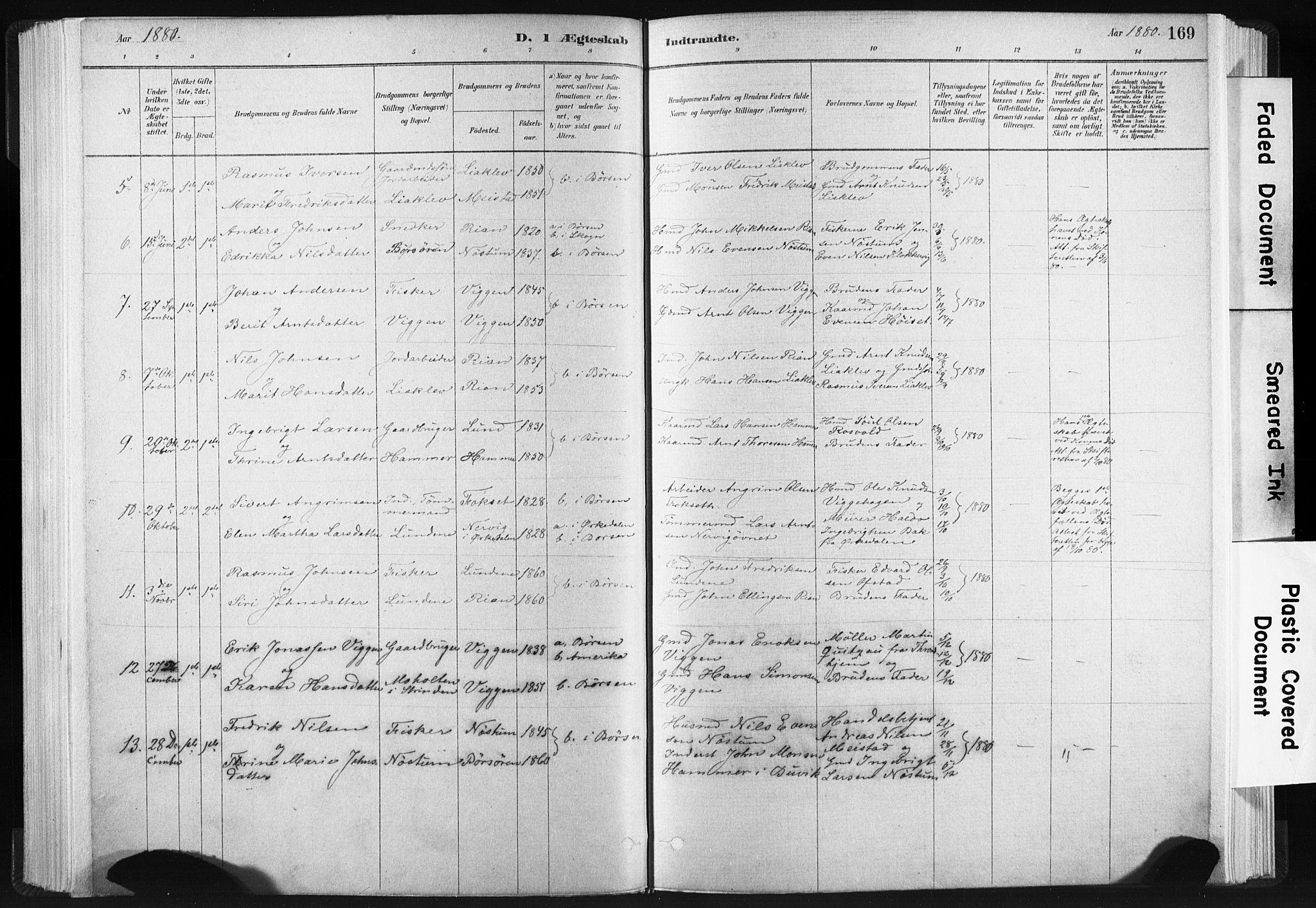 SAT, Ministerialprotokoller, klokkerbøker og fødselsregistre - Sør-Trøndelag, 665/L0773: Ministerialbok nr. 665A08, 1879-1905, s. 169