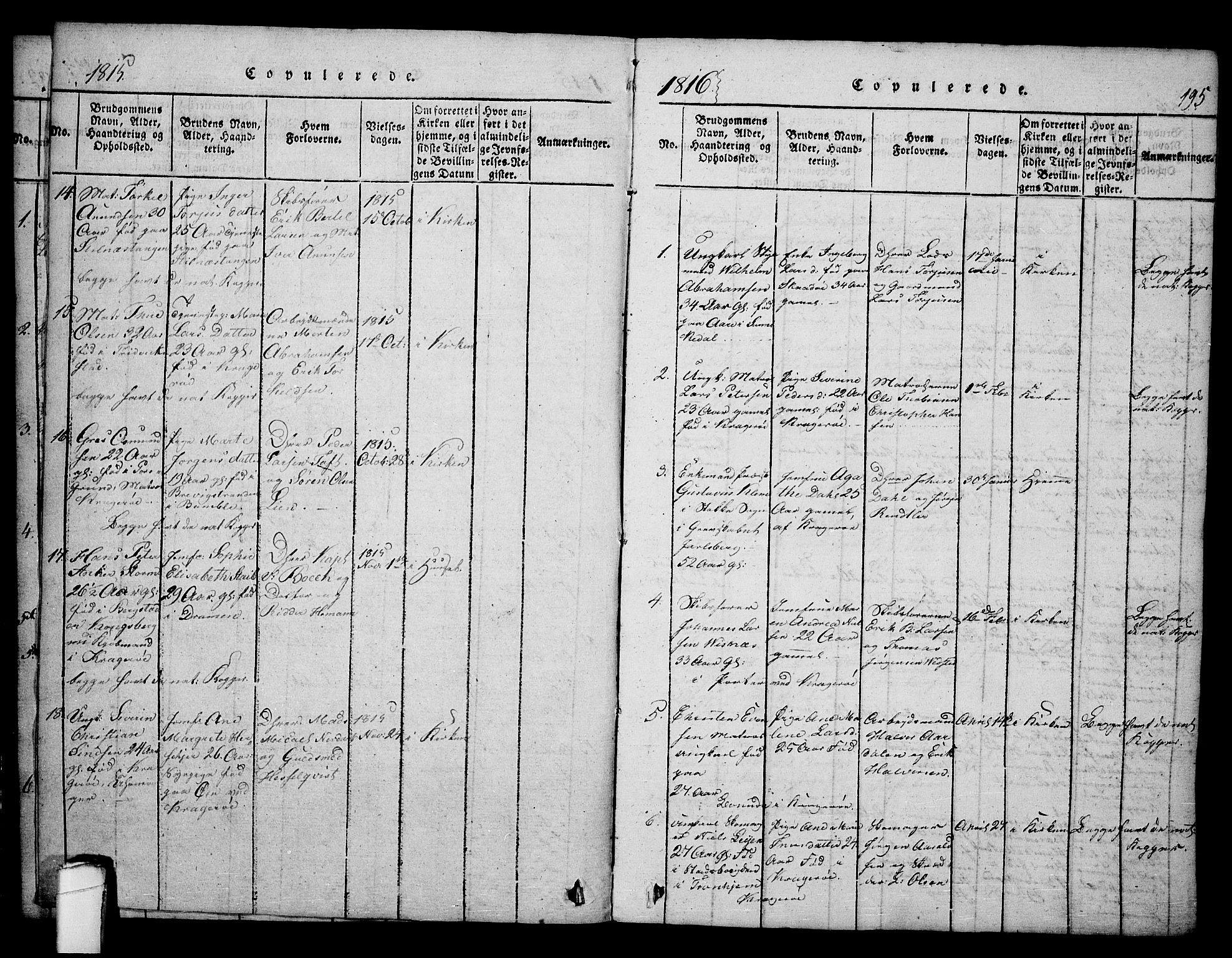 SAKO, Kragerø kirkebøker, F/Fa/L0004: Ministerialbok nr. 4, 1814-1831, s. 195