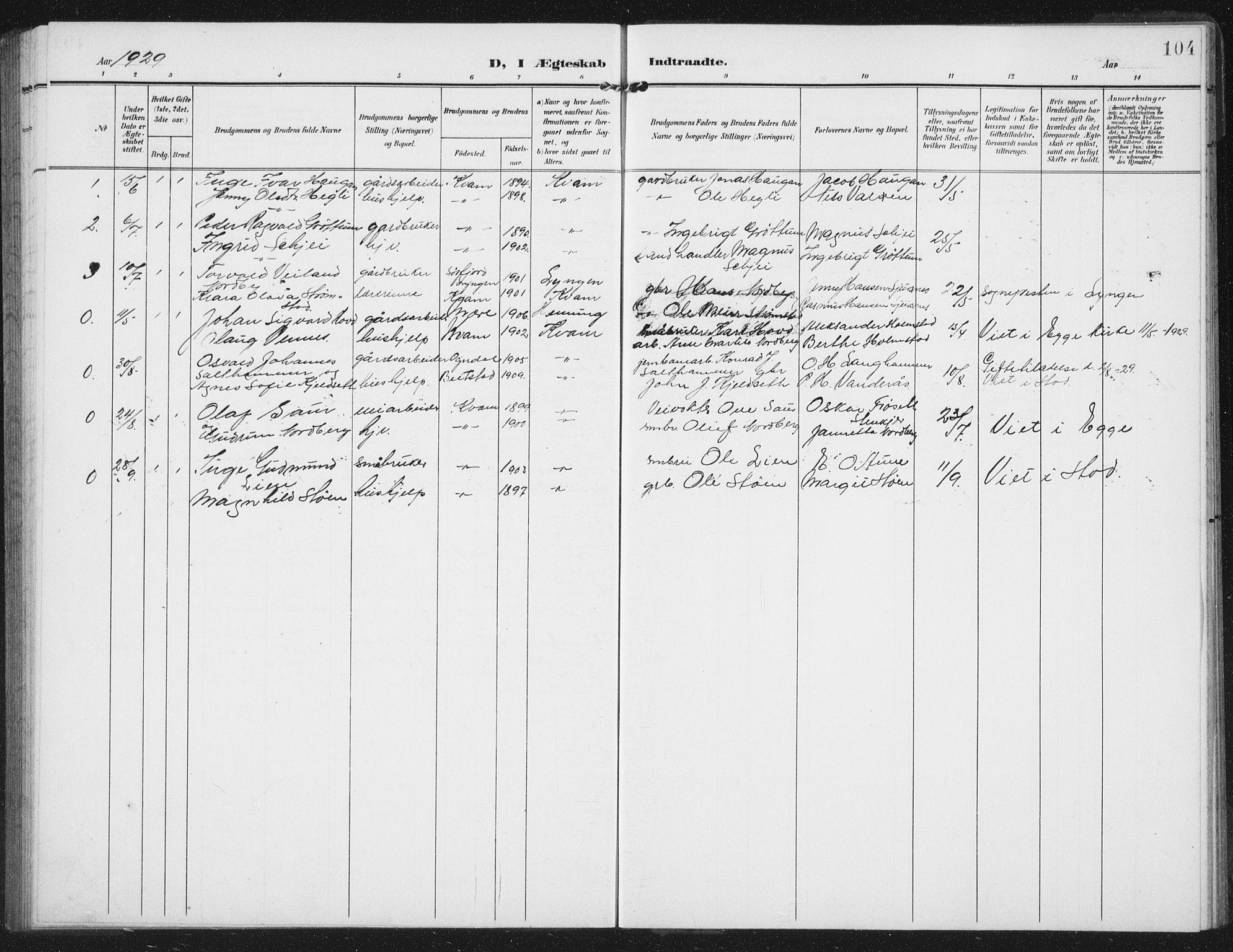 SAT, Ministerialprotokoller, klokkerbøker og fødselsregistre - Nord-Trøndelag, 747/L0460: Klokkerbok nr. 747C02, 1908-1939, s. 104