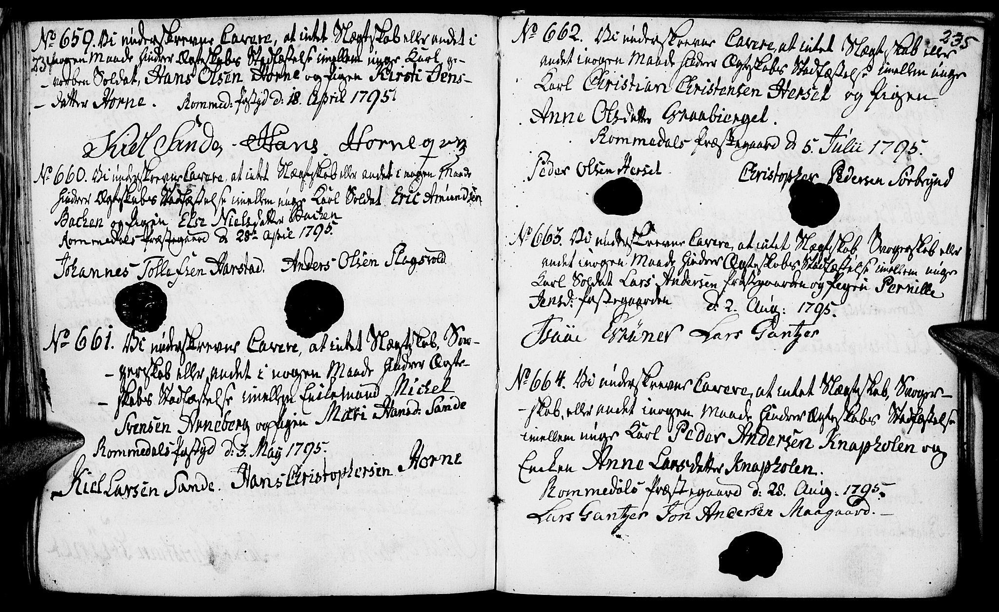 SAH, Romedal prestekontor, I/L0001: Forlovererklæringer nr. 1, 1762-1802, s. 234-235