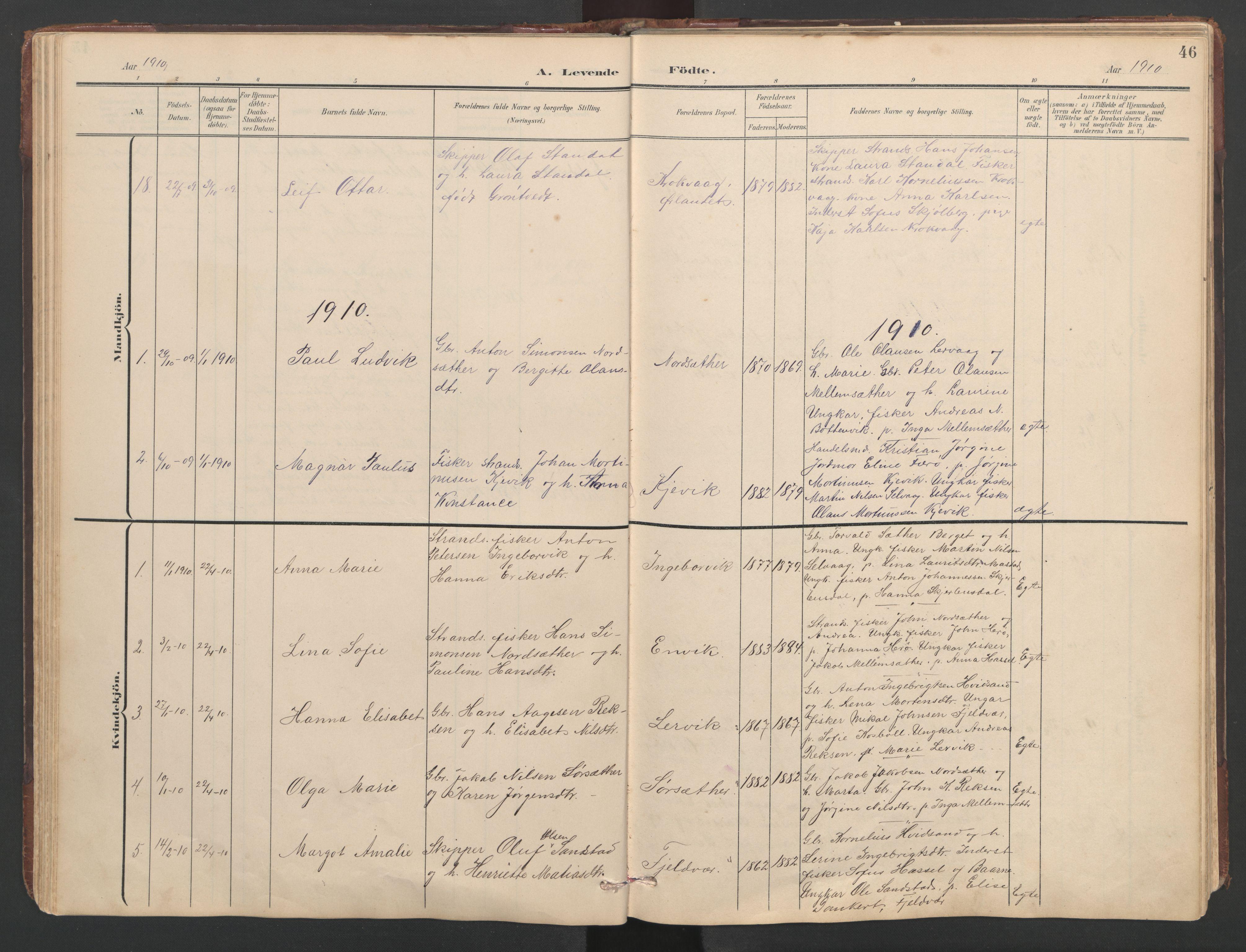 SAT, Ministerialprotokoller, klokkerbøker og fødselsregistre - Sør-Trøndelag, 638/L0571: Klokkerbok nr. 638C03, 1901-1930, s. 46