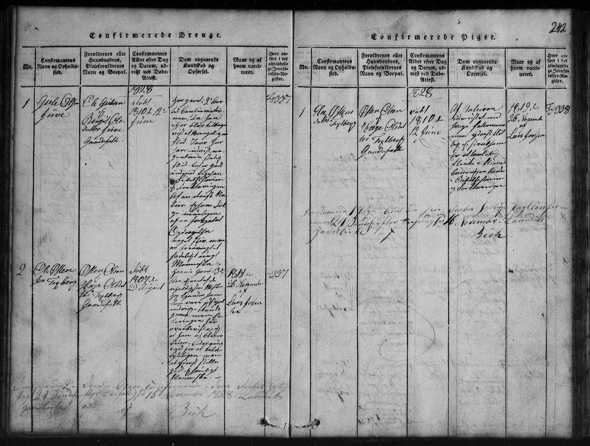 SAKO, Rauland kirkebøker, G/Gb/L0001: Klokkerbok nr. II 1, 1815-1886, s. 242