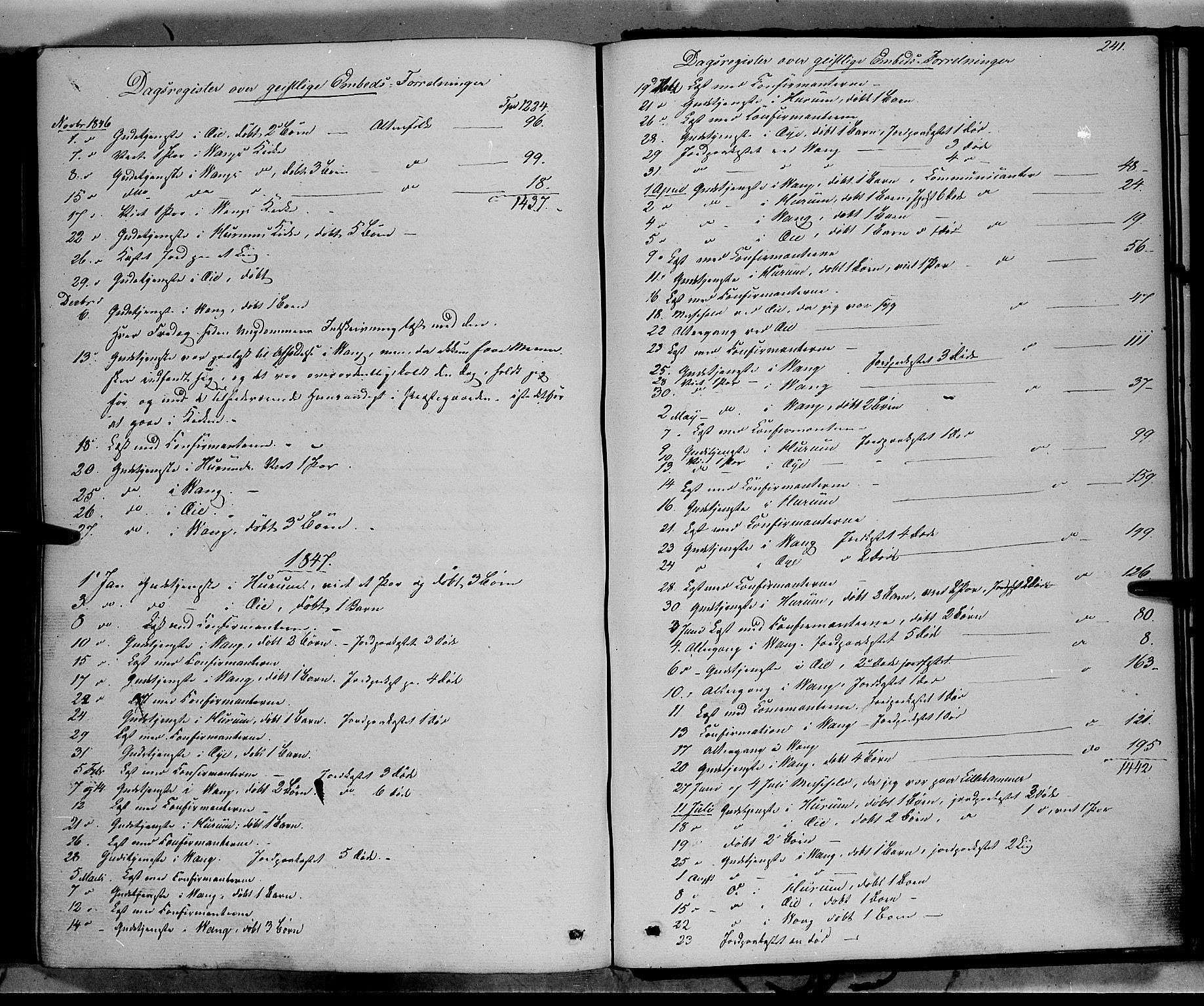 SAH, Vang prestekontor, Valdres, Ministerialbok nr. 6, 1846-1864, s. 241