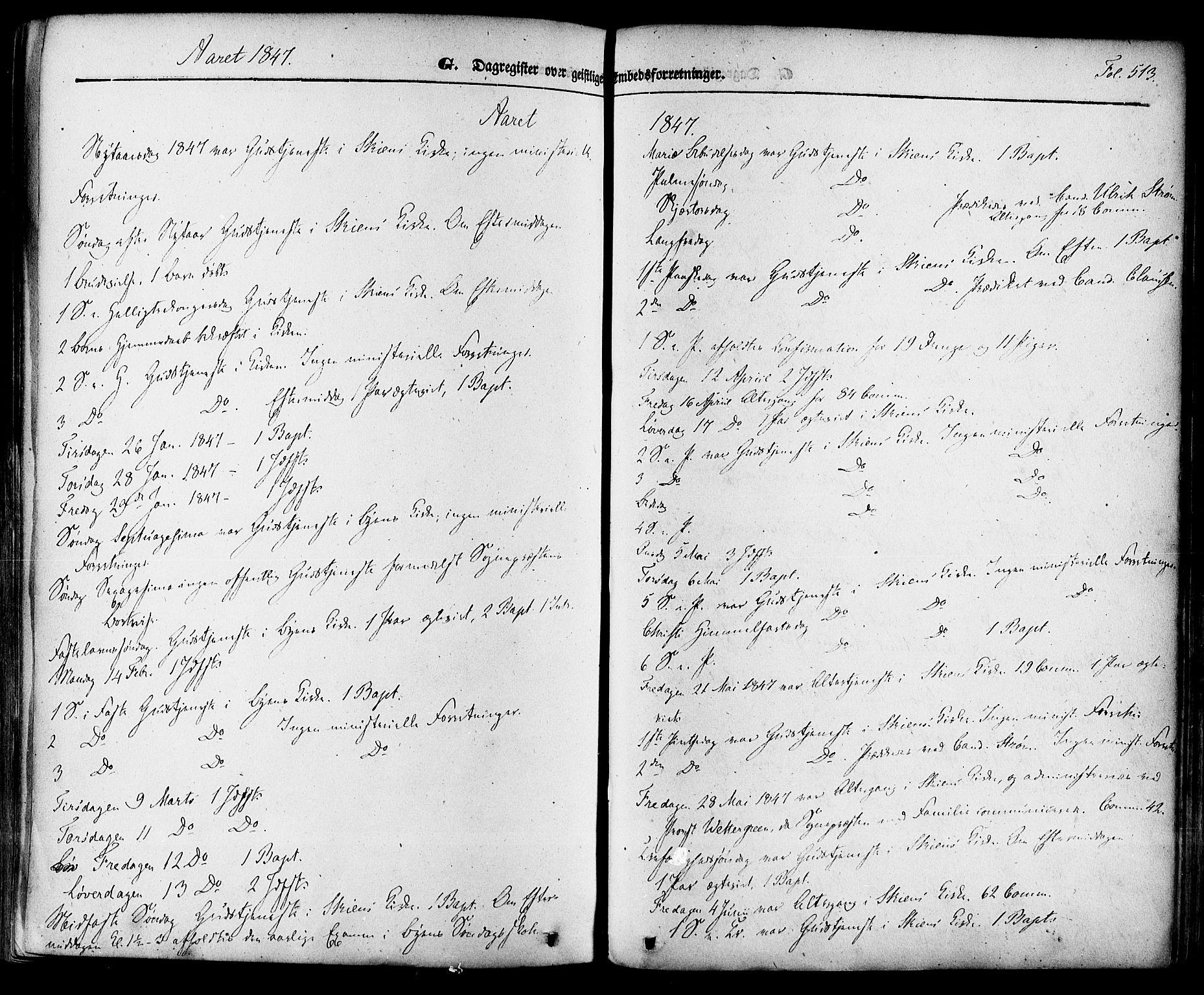 SAKO, Skien kirkebøker, F/Fa/L0006a: Ministerialbok nr. 6A, 1843-1856, s. 513