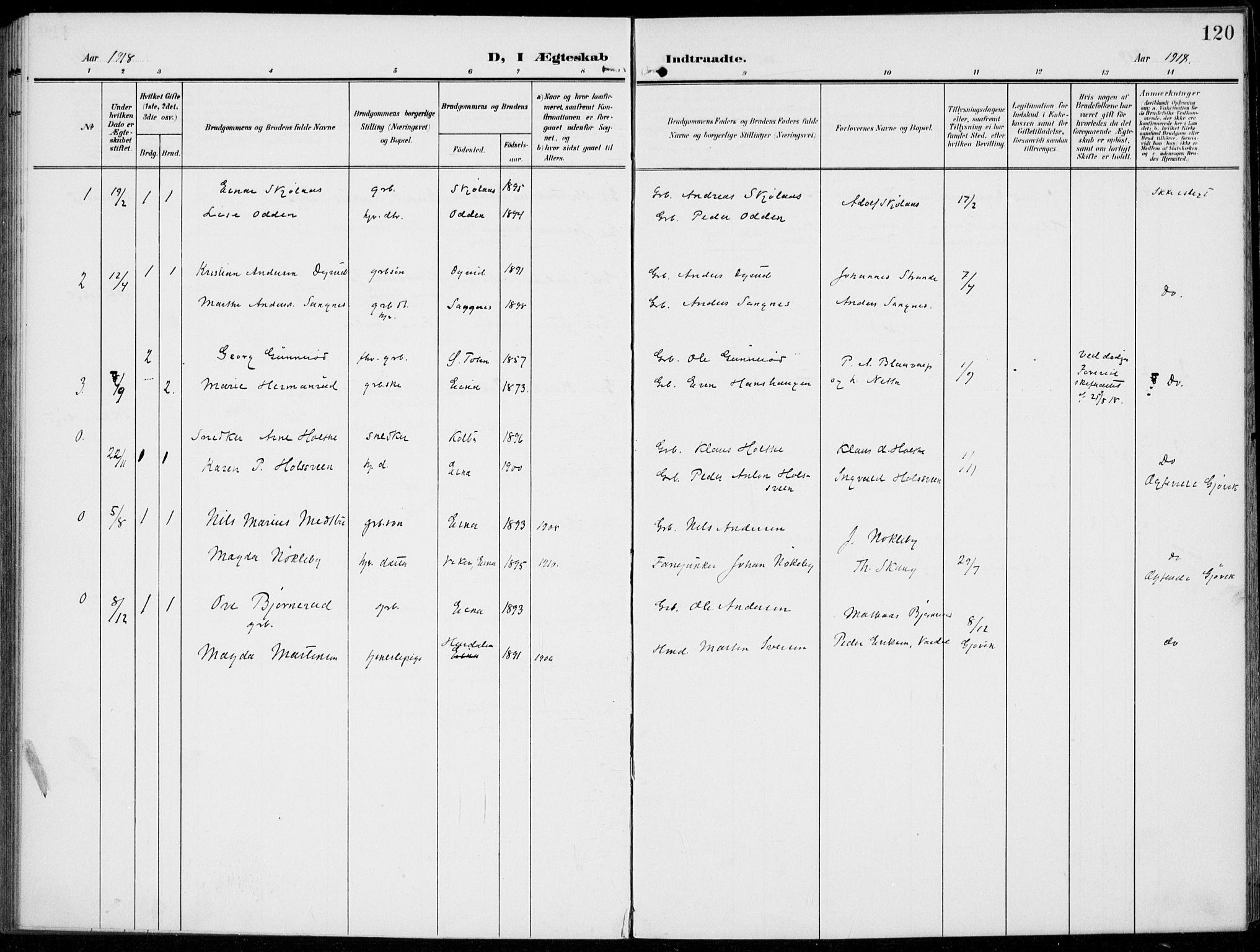 SAH, Kolbu prestekontor, Ministerialbok nr. 1, 1907-1923, s. 120