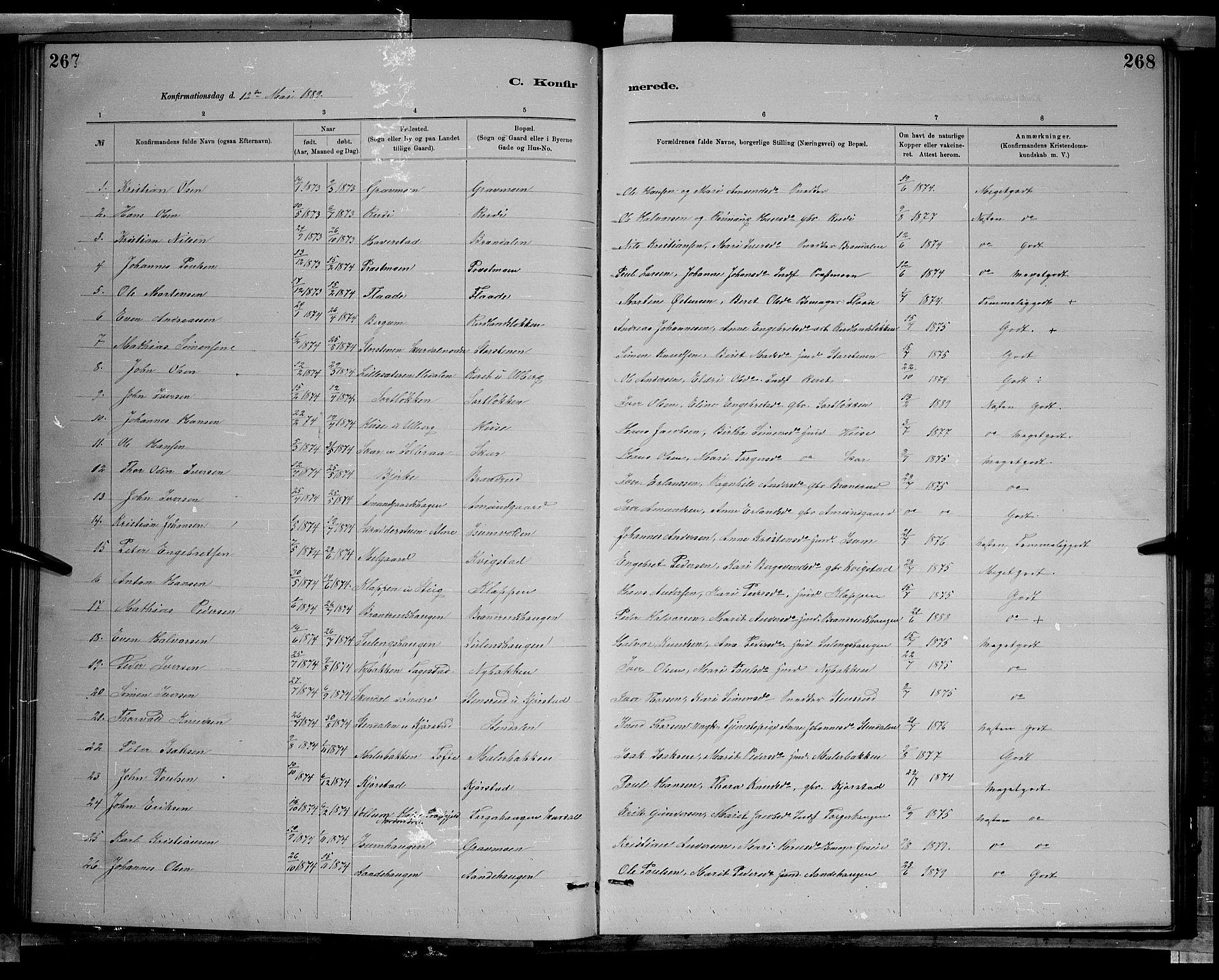 SAH, Sør-Fron prestekontor, H/Ha/Hab/L0003: Klokkerbok nr. 3, 1884-1896, s. 267-268