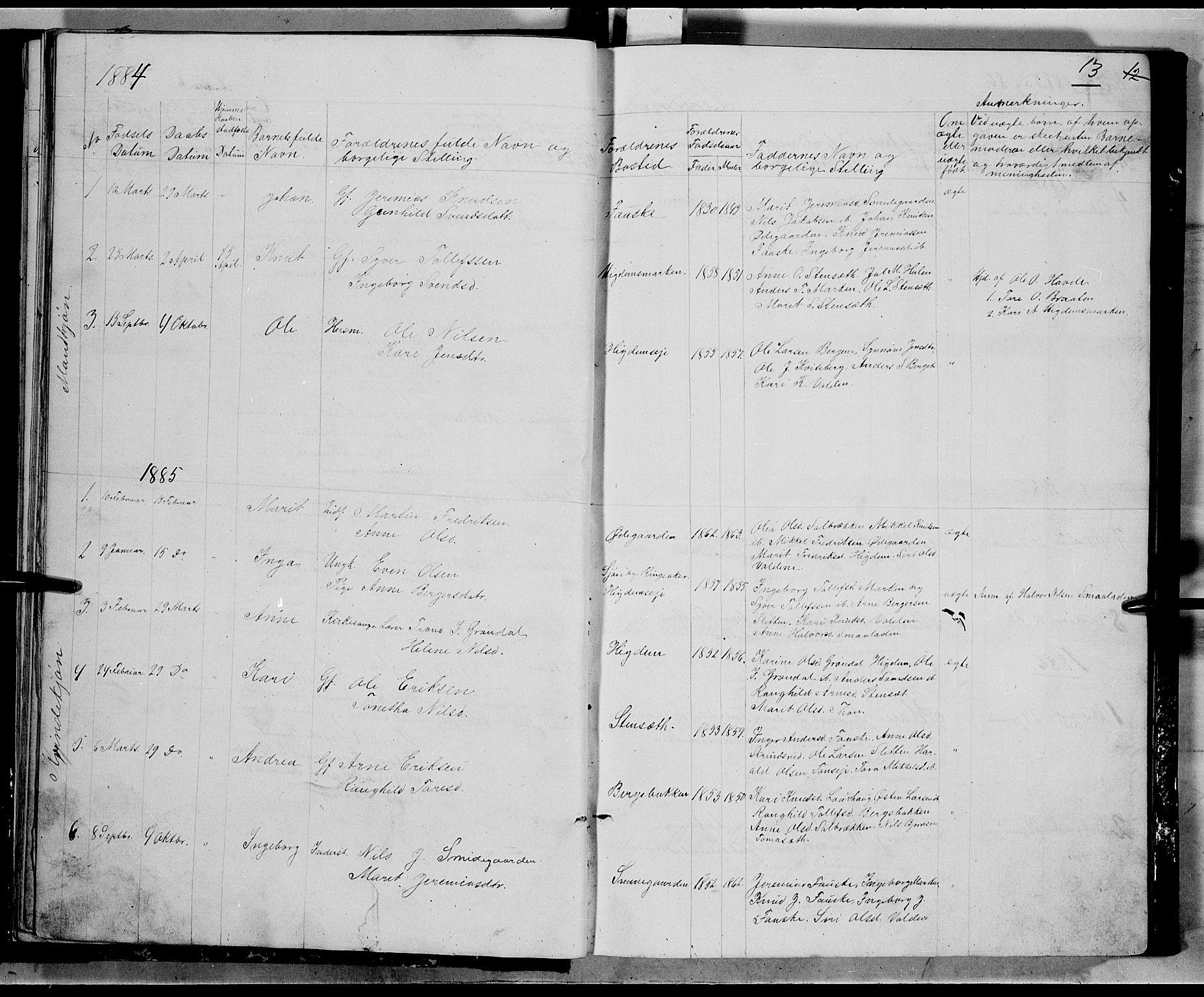 SAH, Nord-Aurdal prestekontor, Klokkerbok nr. 5, 1876-1895, s. 13