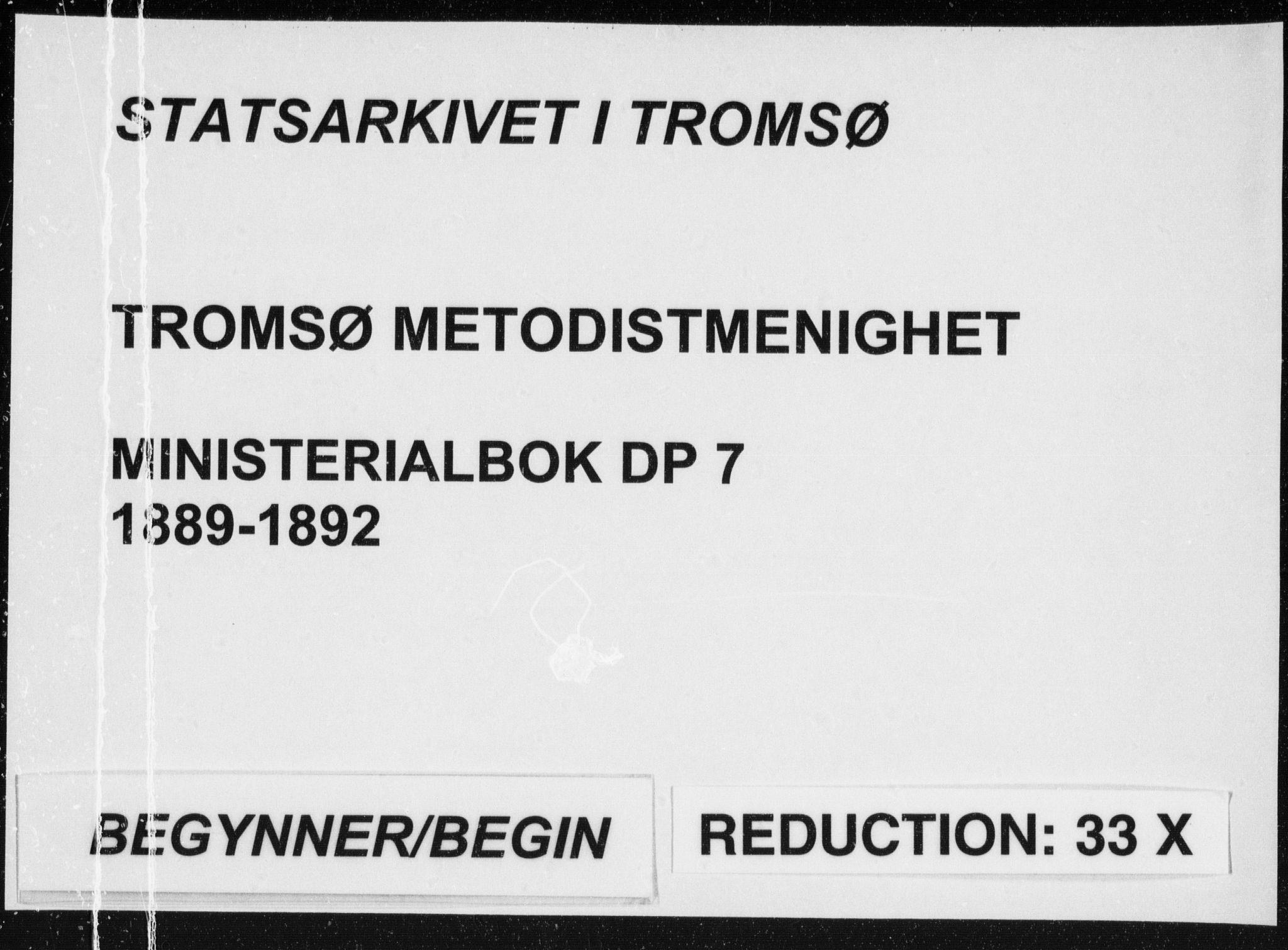 SATØ, Uten arkivreferanse, Dissenterprotokoll nr. DP 7, 1889-1892