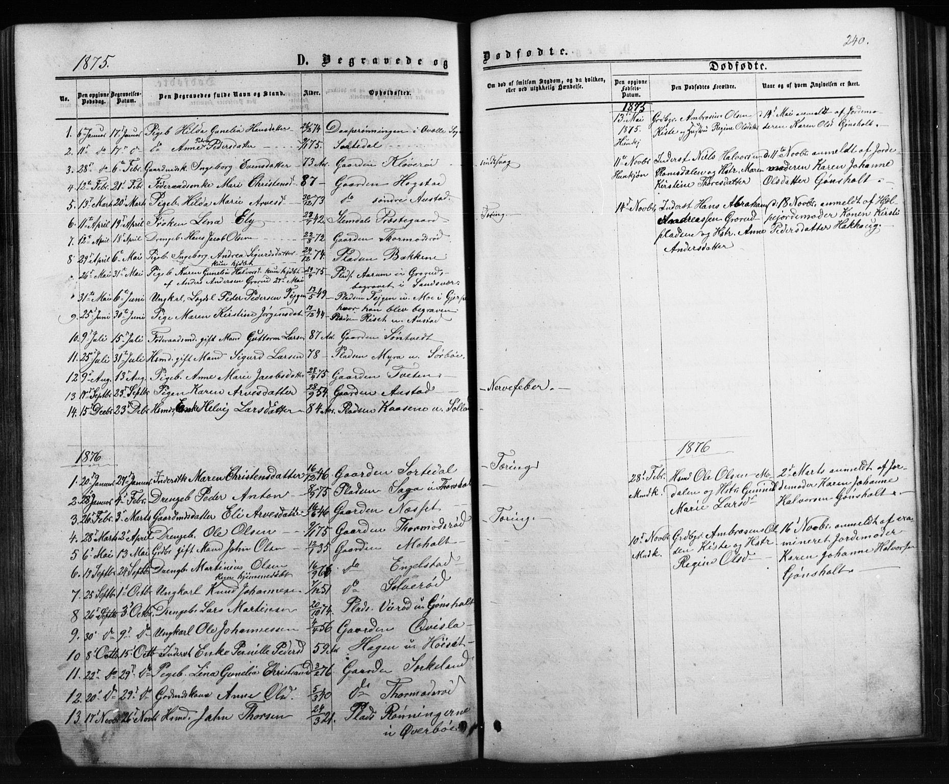 SAKO, Siljan kirkebøker, G/Ga/L0002: Klokkerbok nr. 2, 1864-1908, s. 240