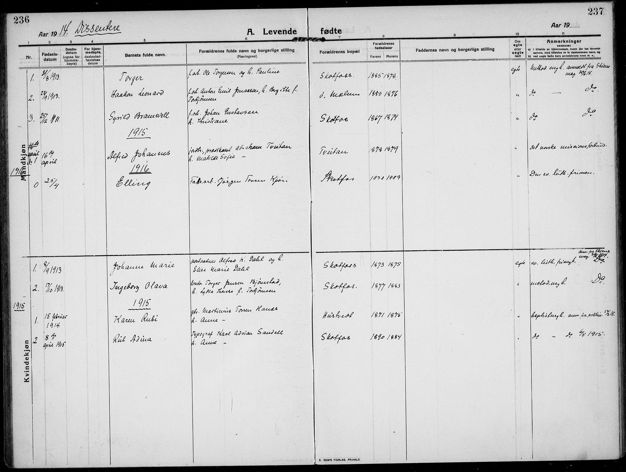 SAKO, Solum kirkebøker, F/Fb/L0004: Ministerialbok nr. II 4, 1913-1924, s. 236-237