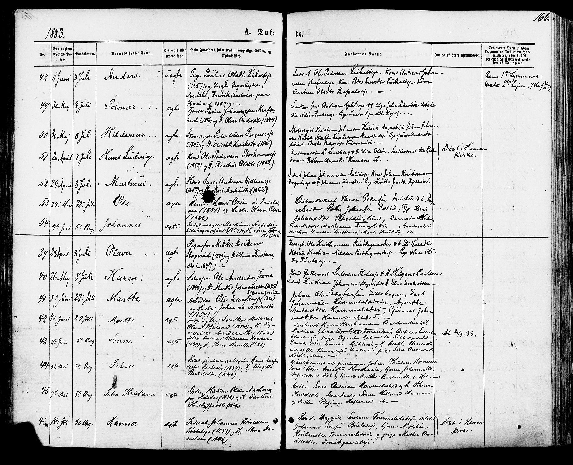 SAH, Vang prestekontor, Hedmark, H/Ha/Haa/L0015: Ministerialbok nr. 15, 1871-1885, s. 166