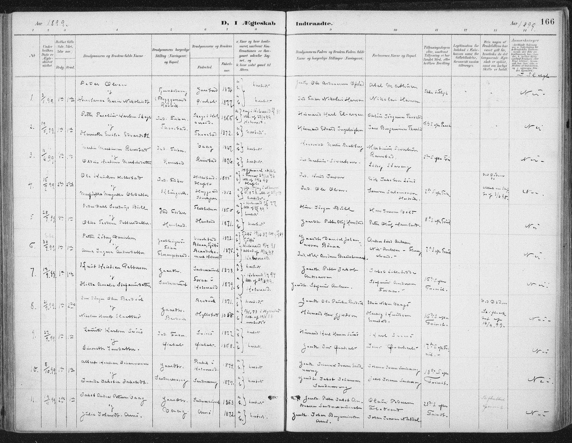 SAT, Ministerialprotokoller, klokkerbøker og fødselsregistre - Nord-Trøndelag, 784/L0673: Ministerialbok nr. 784A08, 1888-1899, s. 166