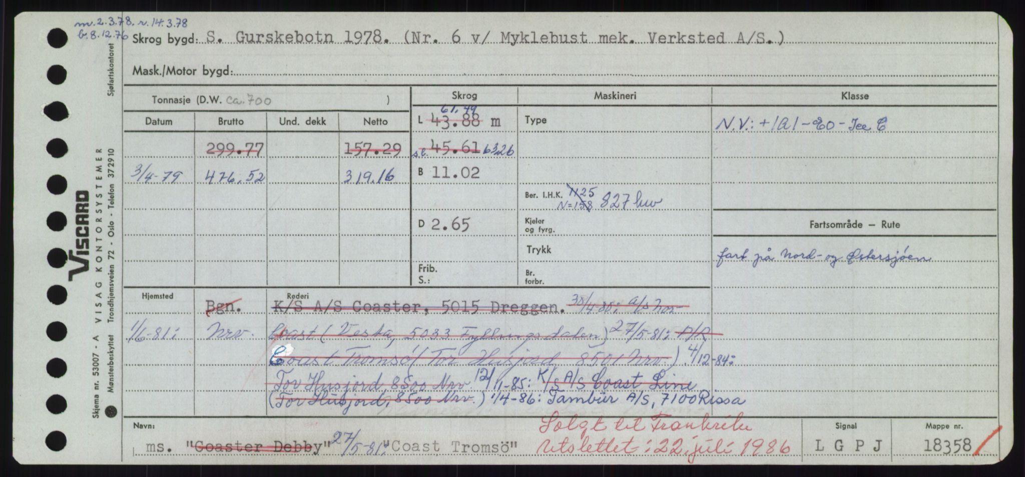 RA, Sjøfartsdirektoratet med forløpere, Skipsmålingen, H/Hd/L0008: Fartøy, C-D, s. 81